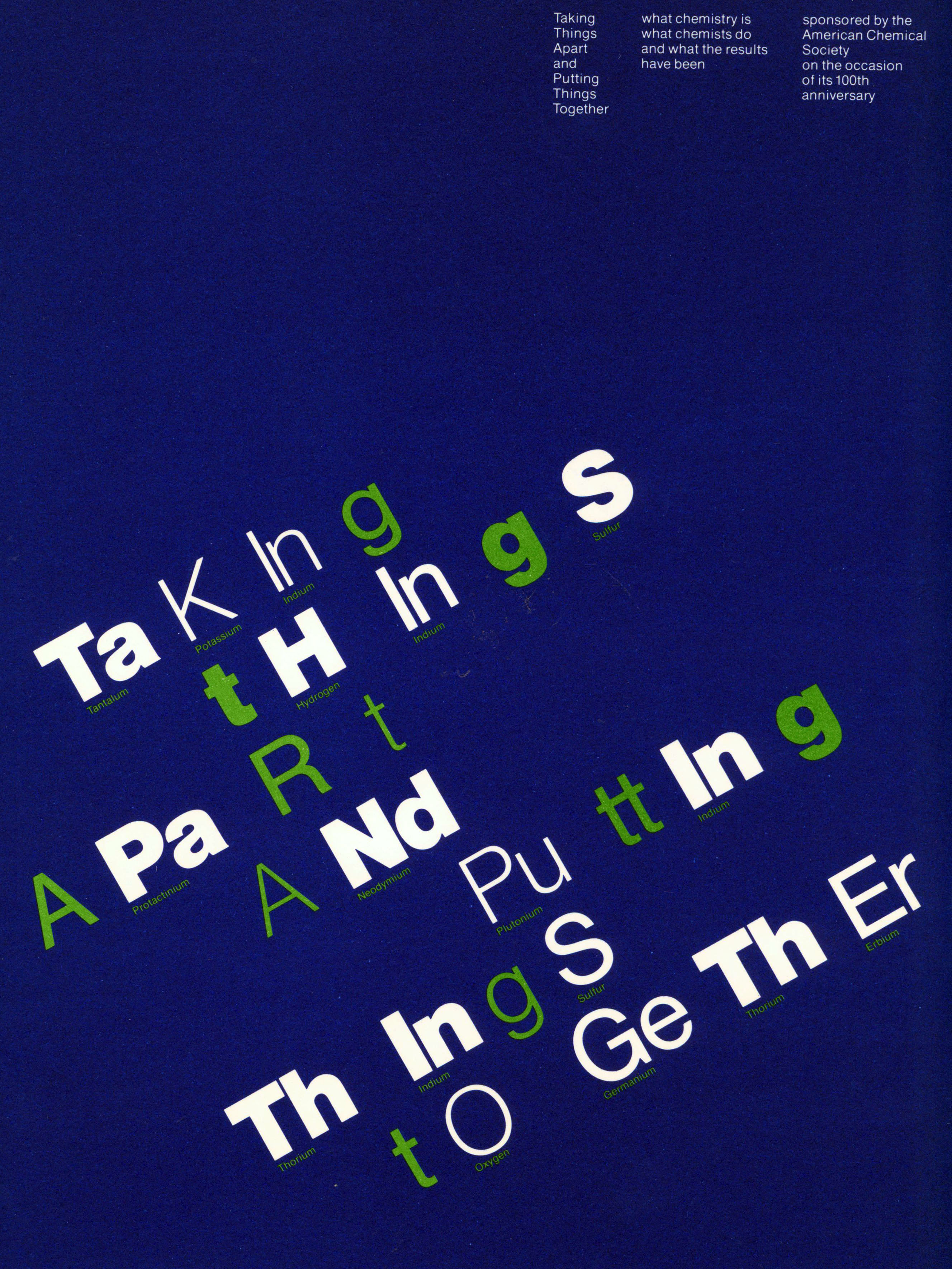 Green diagonal text over a dark blue background; letters that spell out elements from the periodic table of elements are highlighted in white.