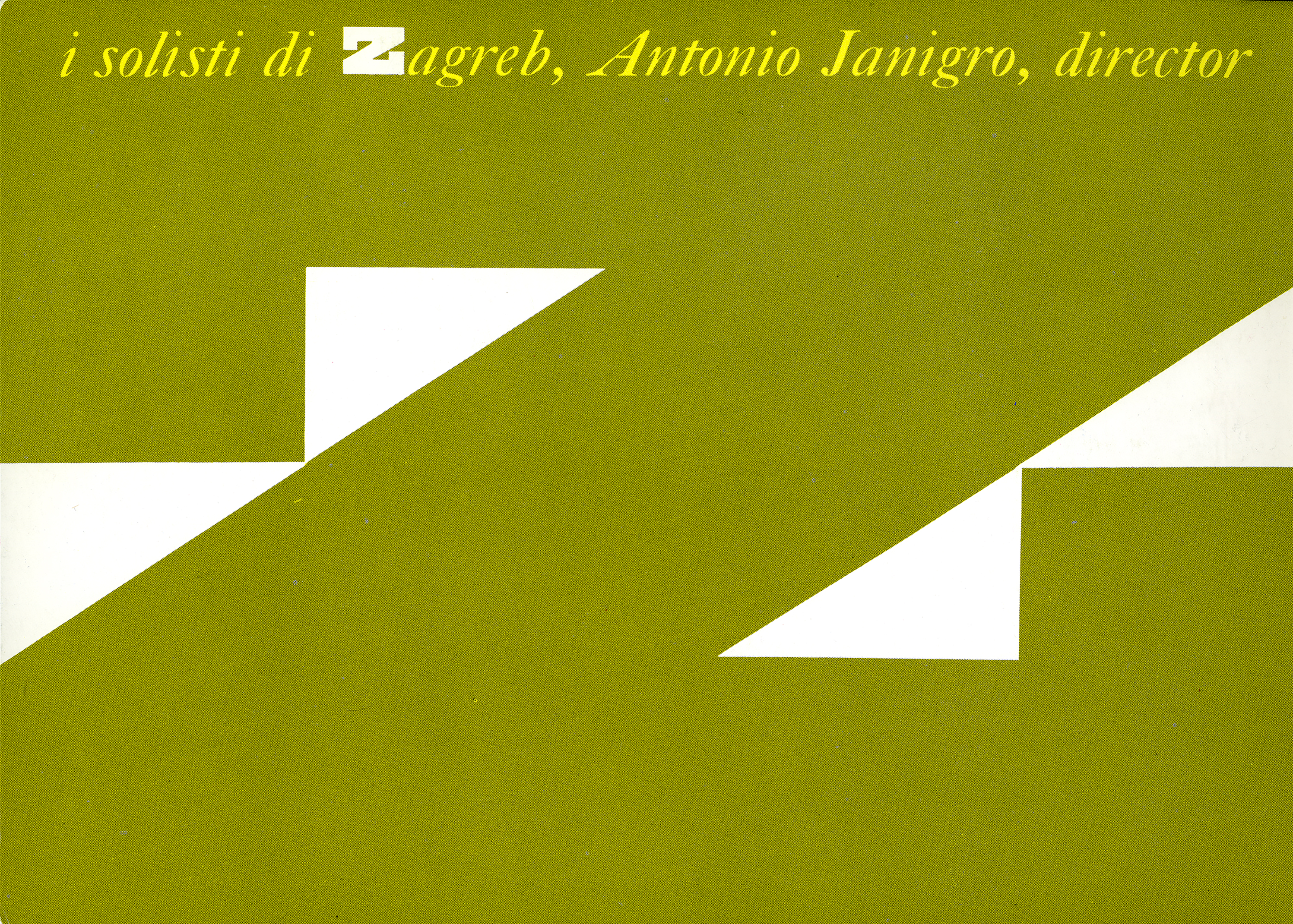 "A large green letter ""z"" against a white background. Text appears across top in yellow, and reads ""i solisti di Zagreb, Antonio Janigro, director."""