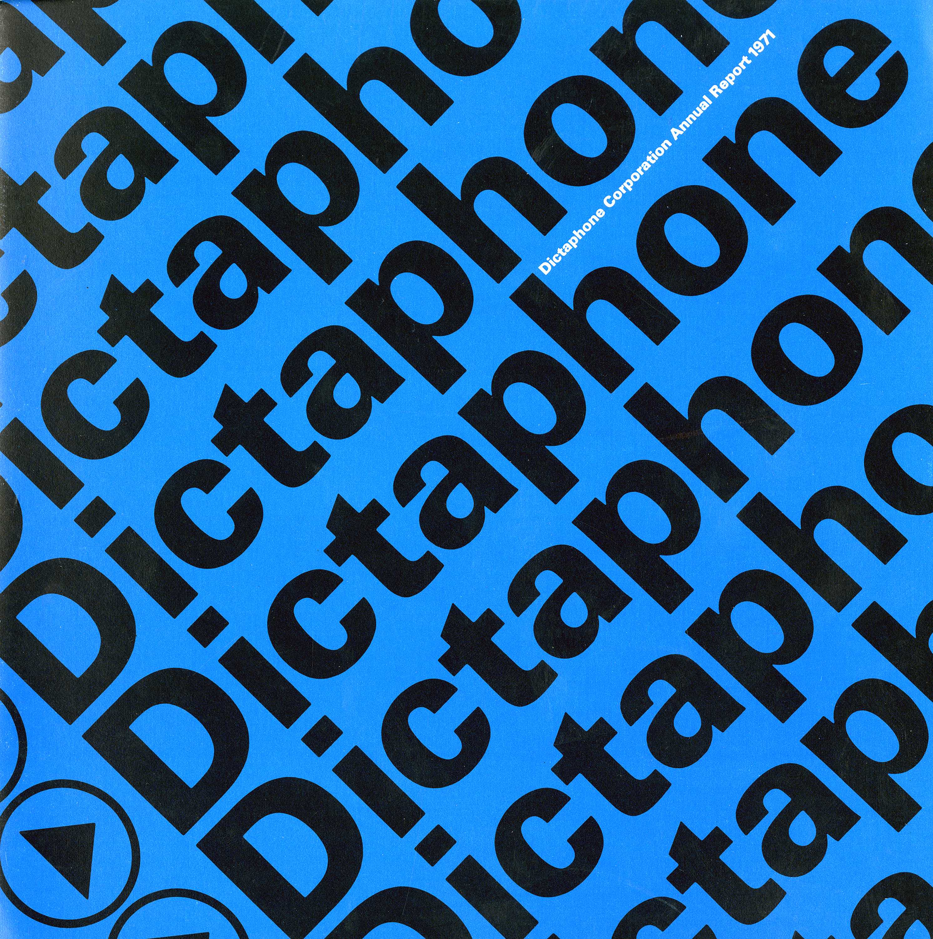 "The word ""Dictaphone"" is repeated infinitely next to a play button graphic. Black against blue background."