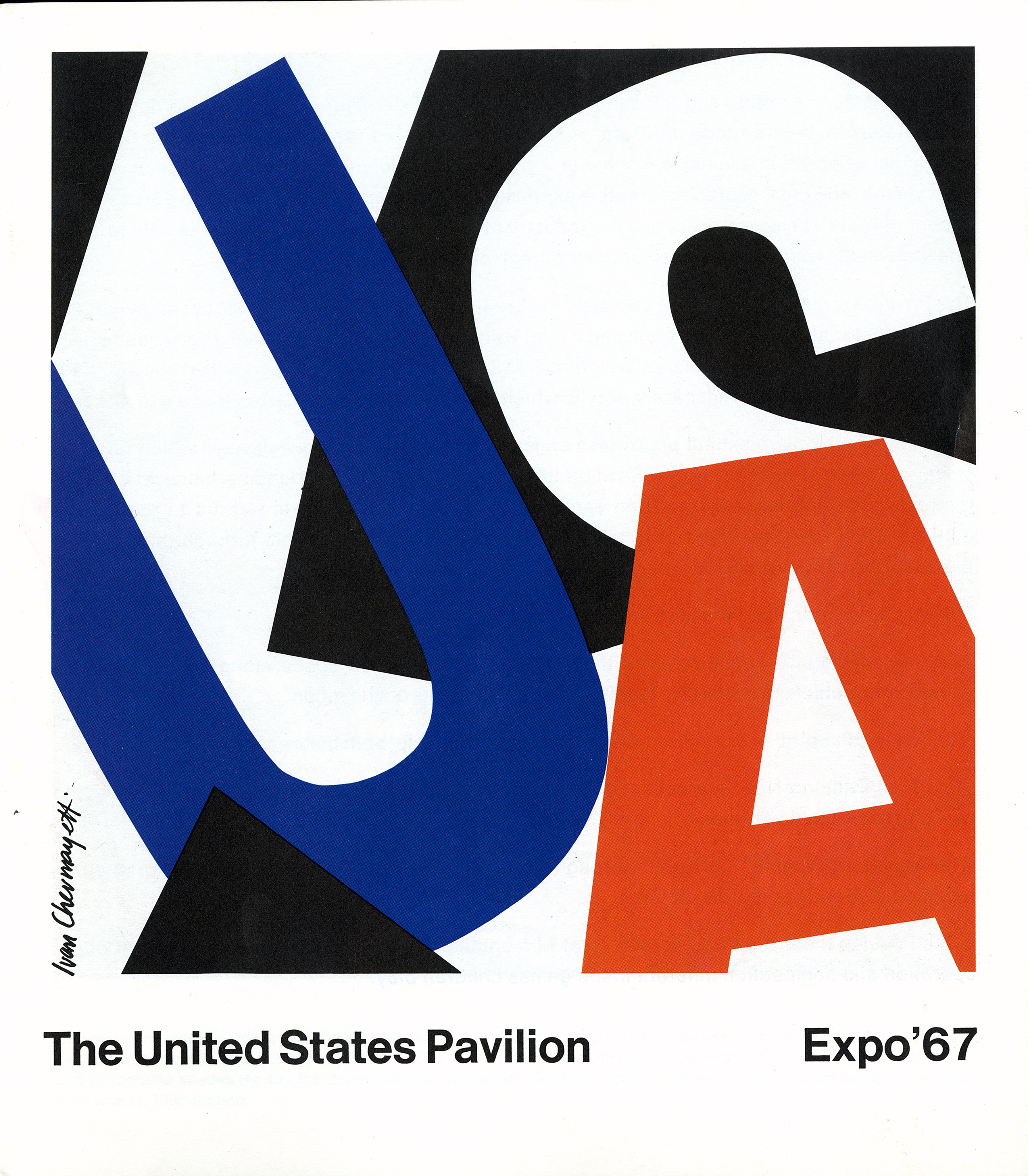 Graphic of the letters USA appearing large and jumbled, almost abstracted. Red, blue, black and white.