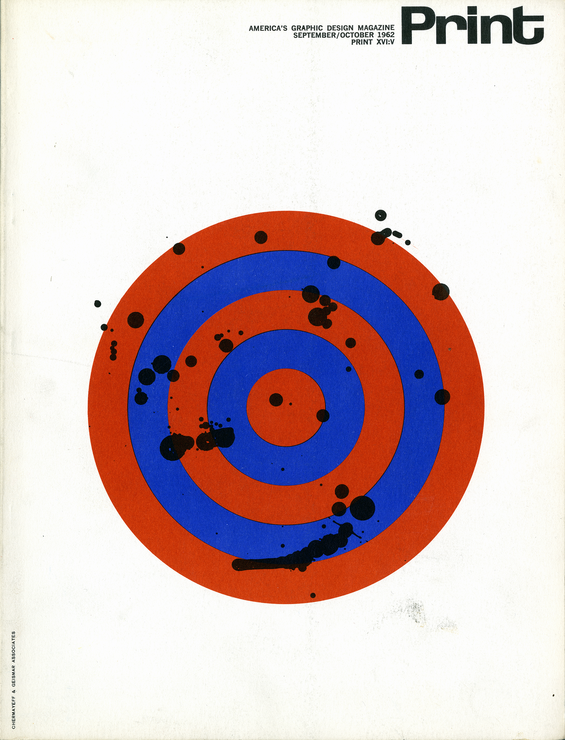 Blue and red graphic of a target covered in black ink splotches against a white background.