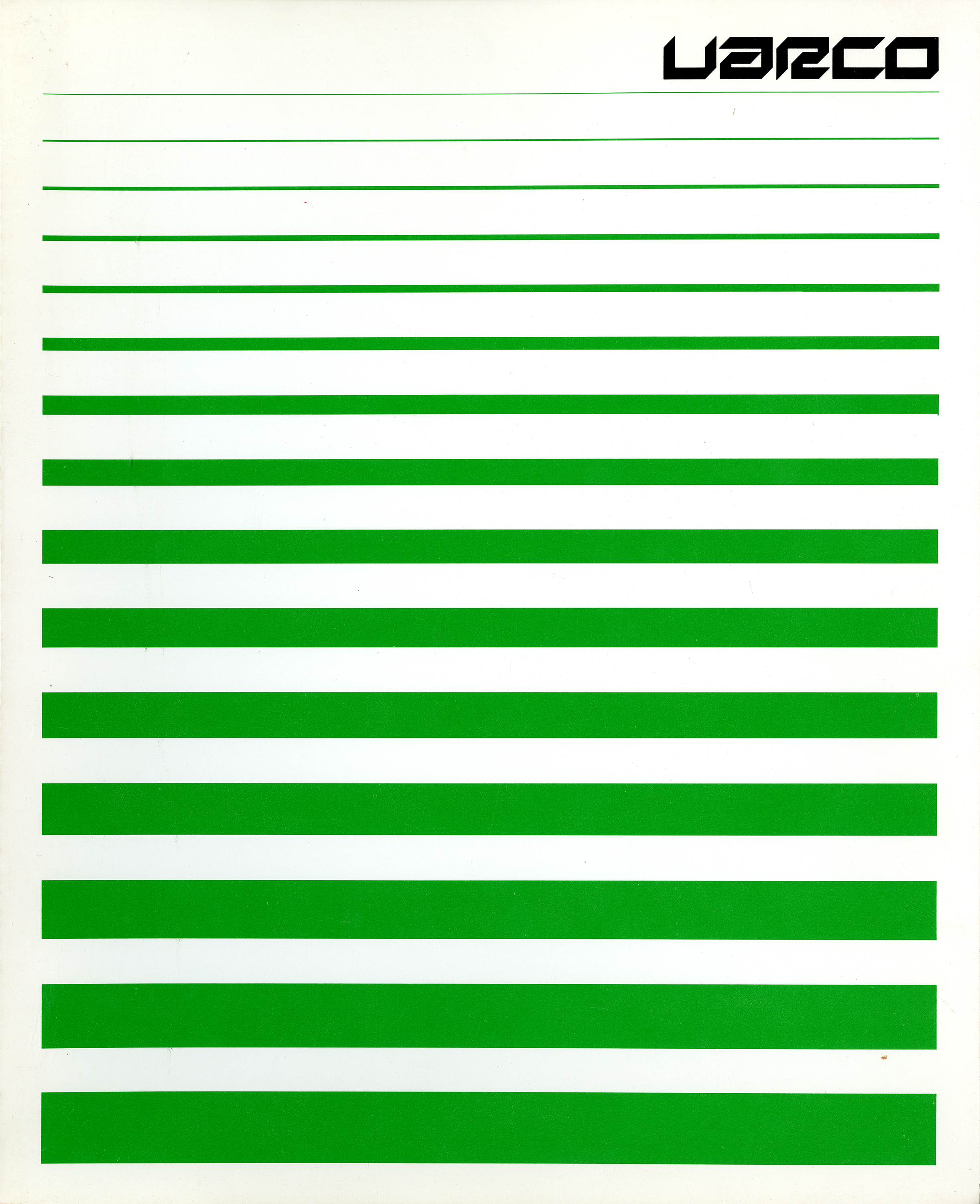 A series of horizontal green lines becoming progressively thicker from the top to the bottom of the page. Title appears in black.