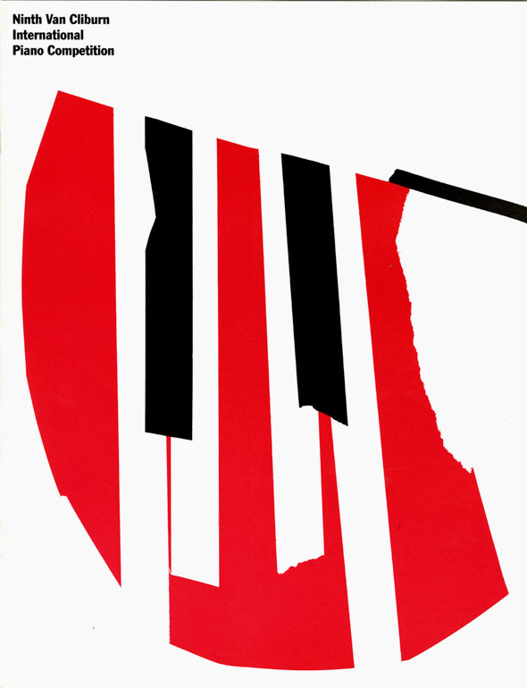 Red, black and white graphic of several piano keys.