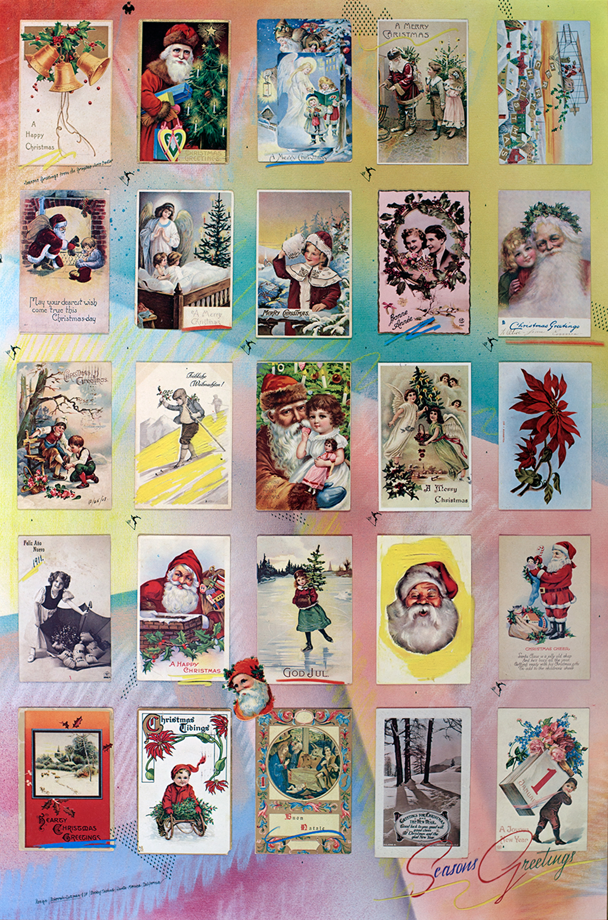 Collage of varied Christmas postcards.