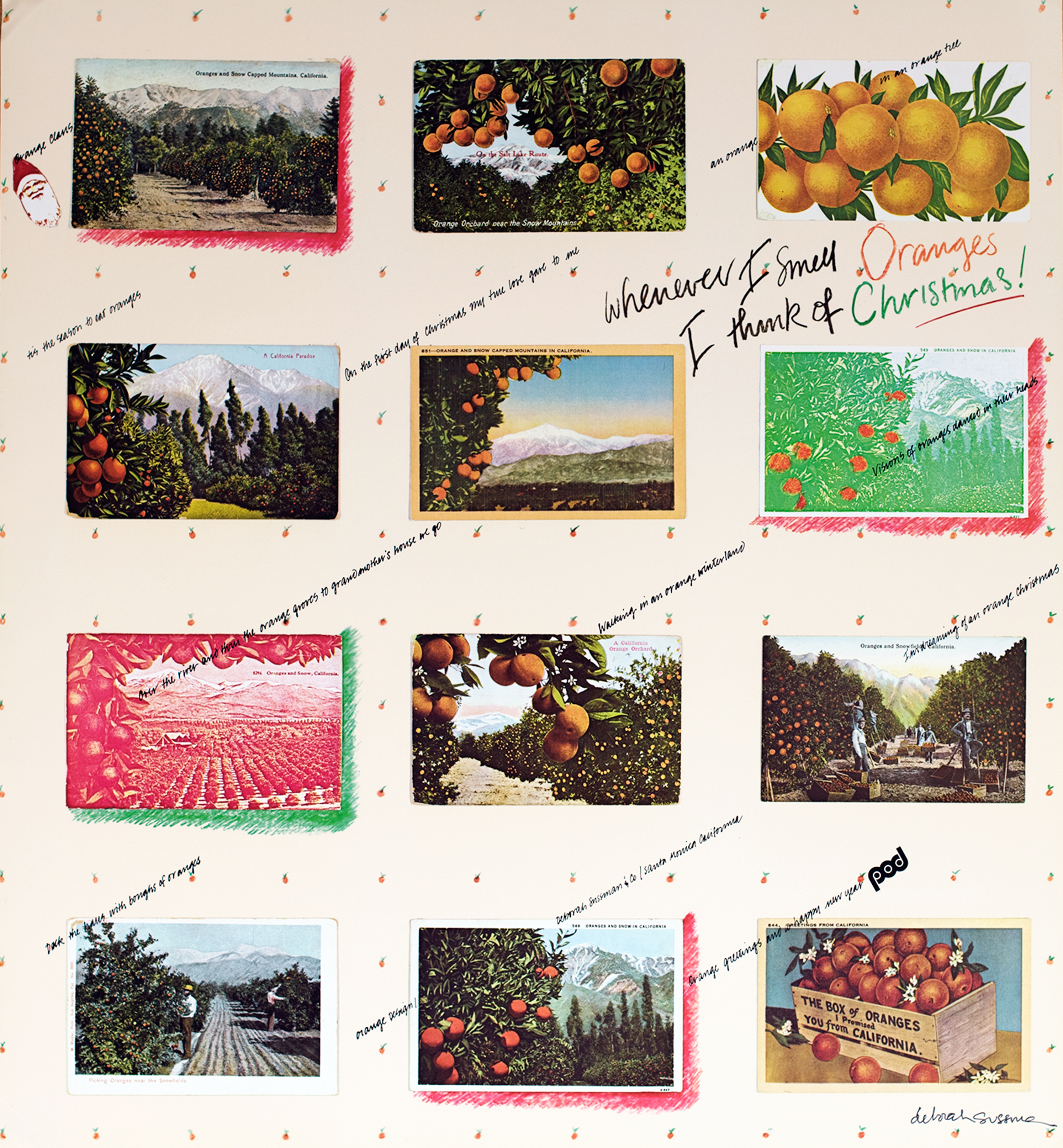 Collage of varied orange-themed postcards with diagonal text.