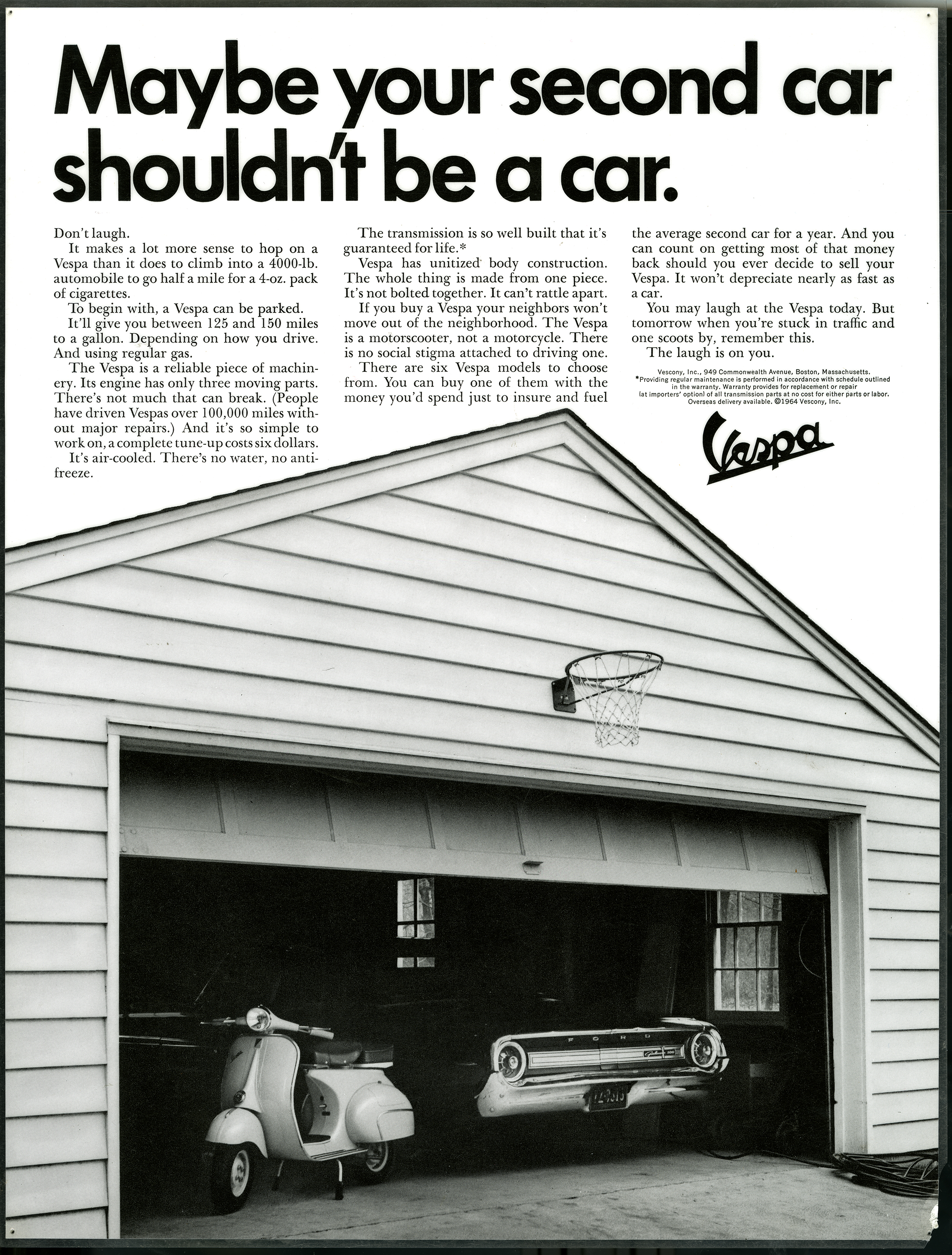 "Black and white photograph of an open garage with a car and a Vespa in it, below the title, ""Maybe Your Second Car Shouldn't Be a Car,"" in black sans serif font."