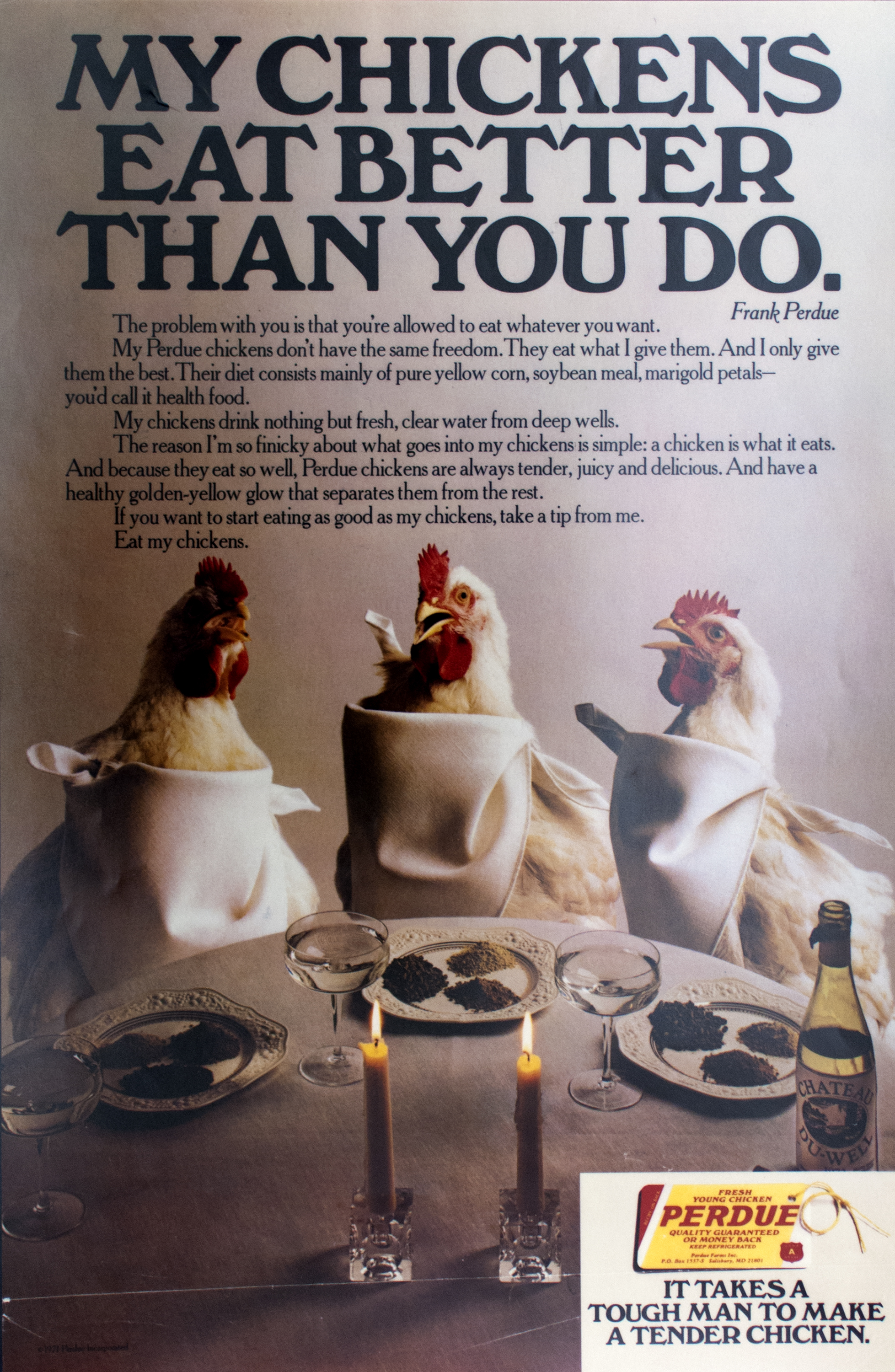 "Color photograph of three chickens at a dinner table with candles and a wine bottle, wearing napkins around their necks. Title ""My Chickens Eat Better than You Do,"" at top in large black type."
