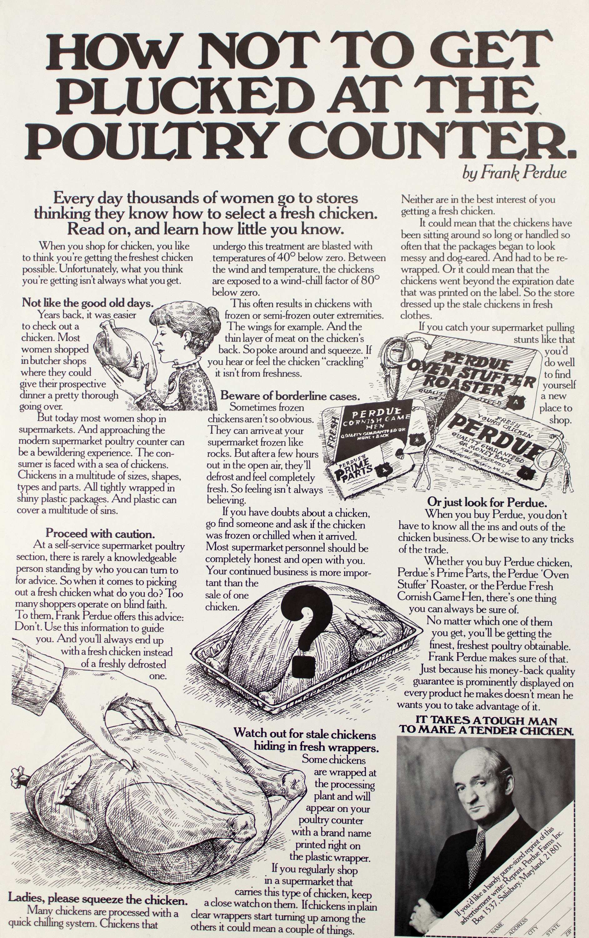 "Text-heavy advertisement detailing how to spot a stale wrapped chicken, with corresponding black-and-white illustrations (woman holding a chicken, hand squeezing a chicken, a chicken with a big question mark over it, Perdue tags). Title,  ""How Not To Get Plucked At The Poultry Counter,"" at top in black ink."