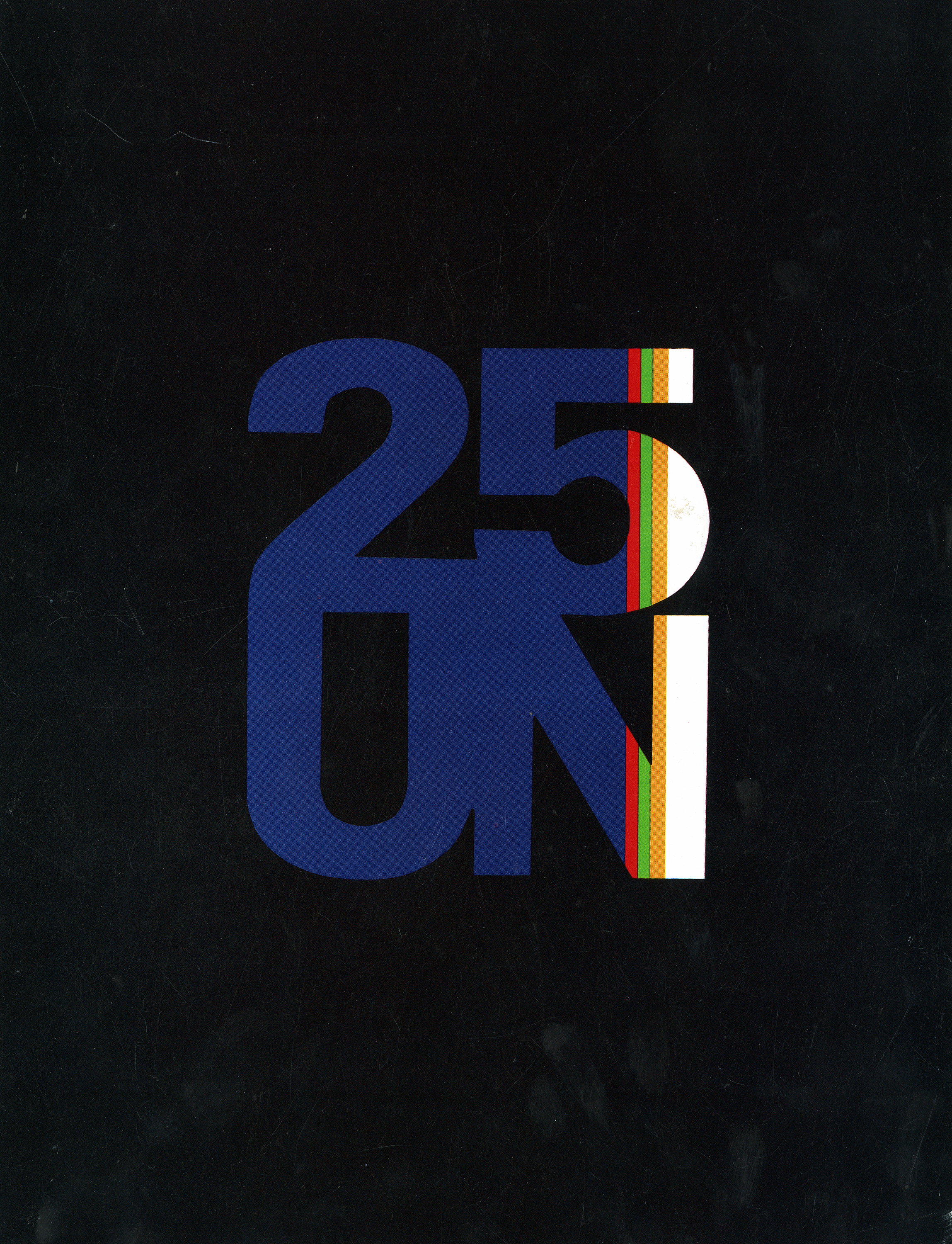 "Booklet cover with the characters ""25 UN"" in large, mostly blue, font with red, green, orange, and white stripes on the right edge, against a black background."