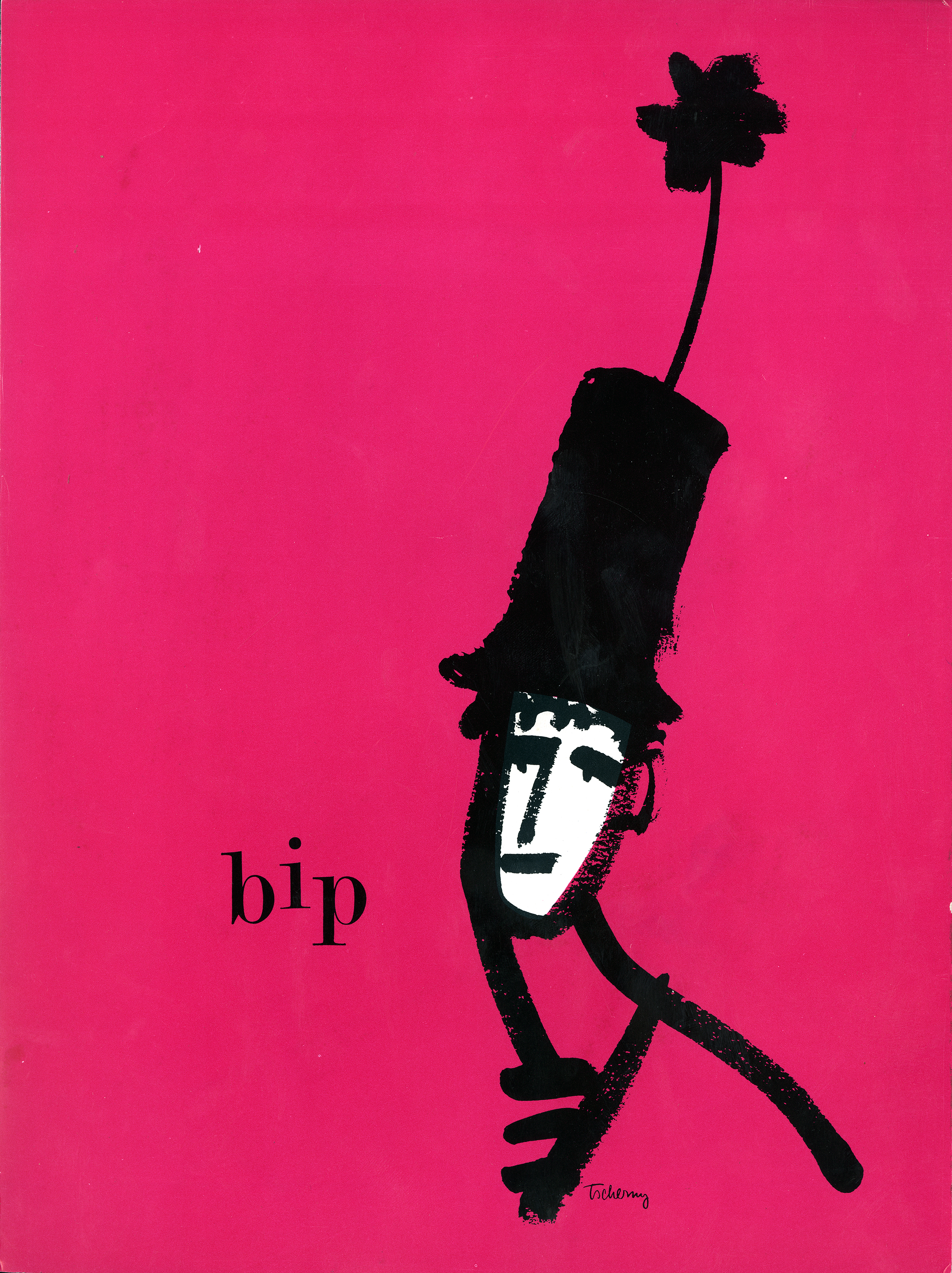 Bright pink program cover featuring a simple line drawing of Marcel Marceau with a white face in a tall hat with a flower sticking out of it.