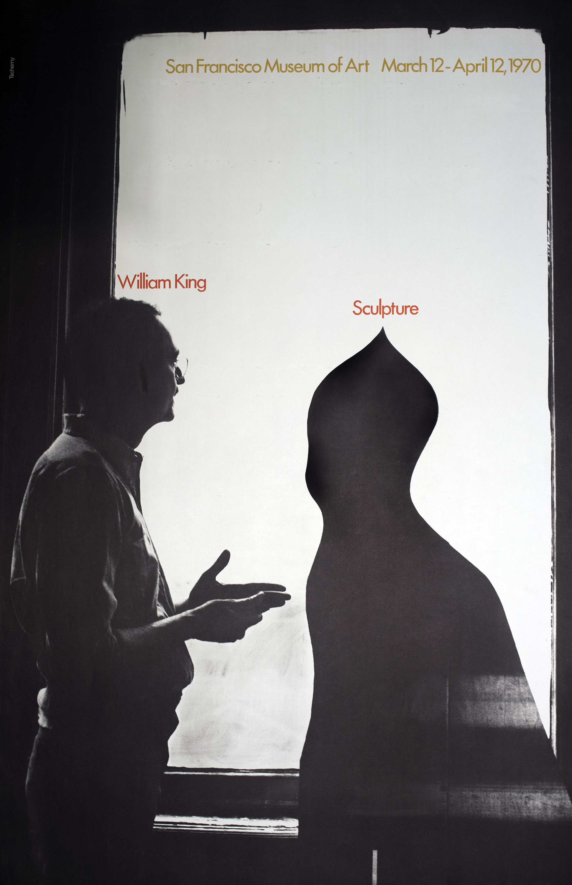 Black and white photograph of William King with a sculpture backlit by a window; both are labeled as such in red.