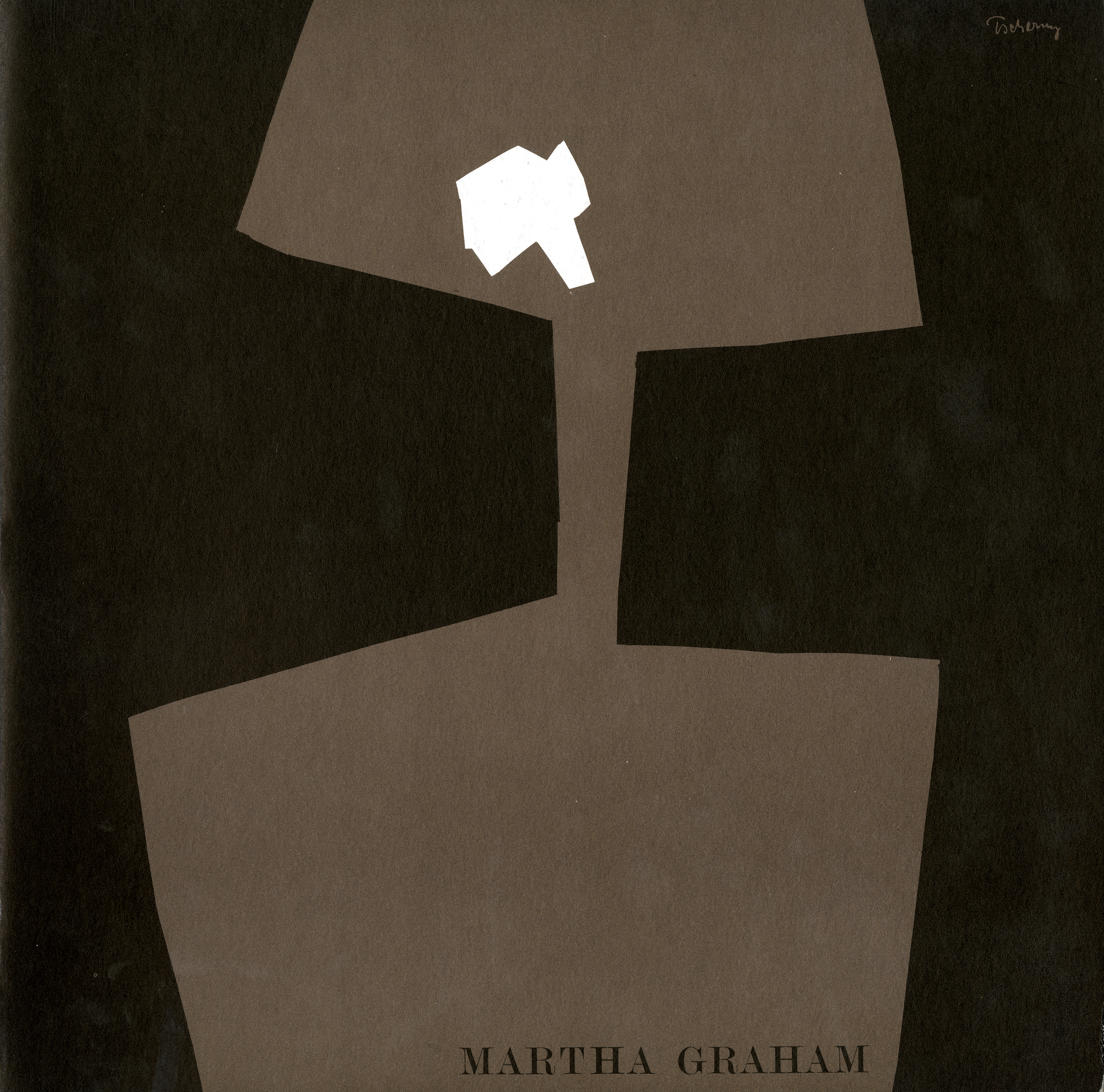 Program cover featuring a simple brown shape on a black background, suggesting the abstract figure of a dancer with a white shape for ahead.