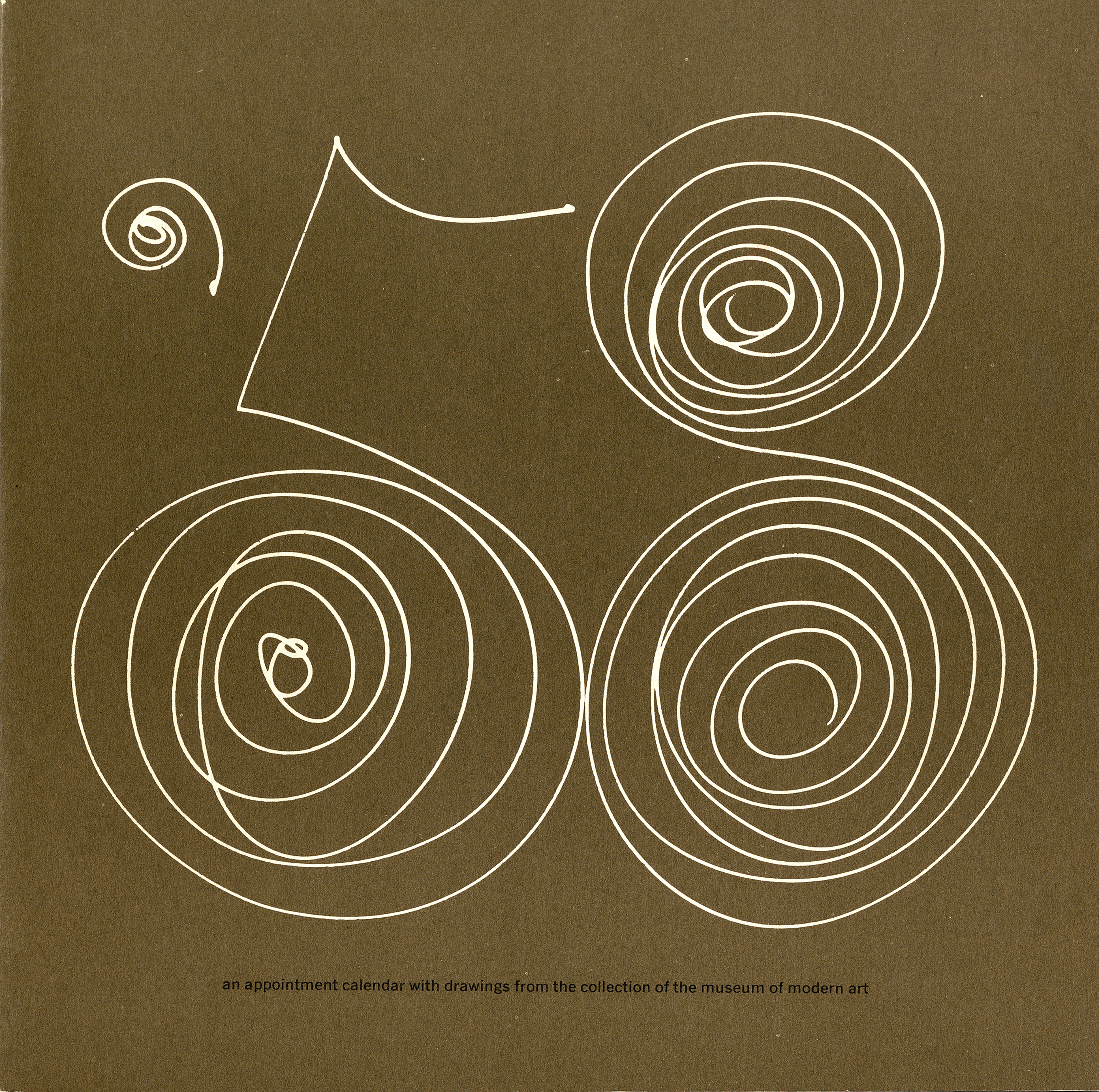 "The number ""'58"" drawn in delicate white swirls against a dark brown background."