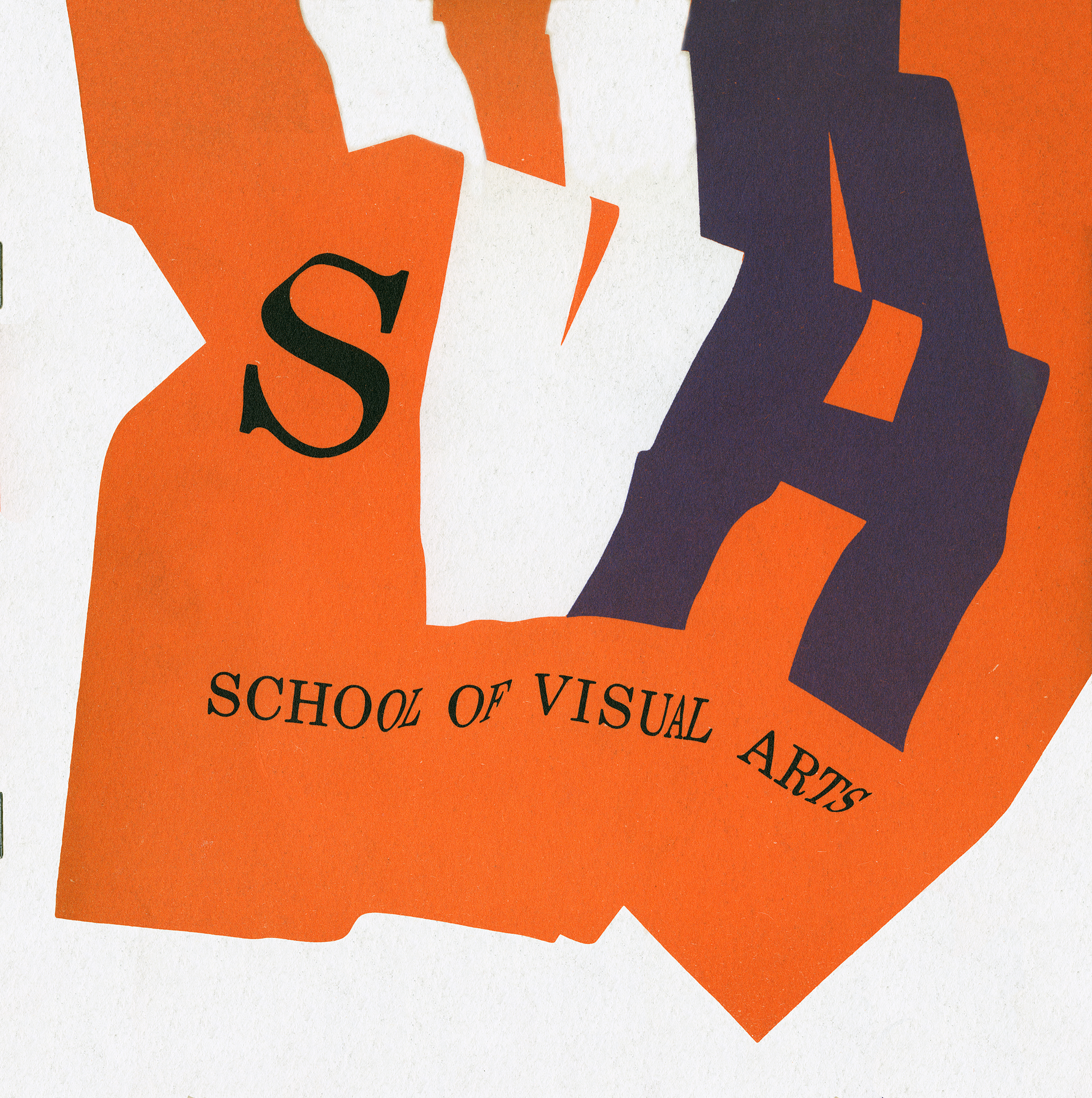 "Catalog cover with a depiction of an orange flag with the text, ""SVA; School of Visual Arts."""