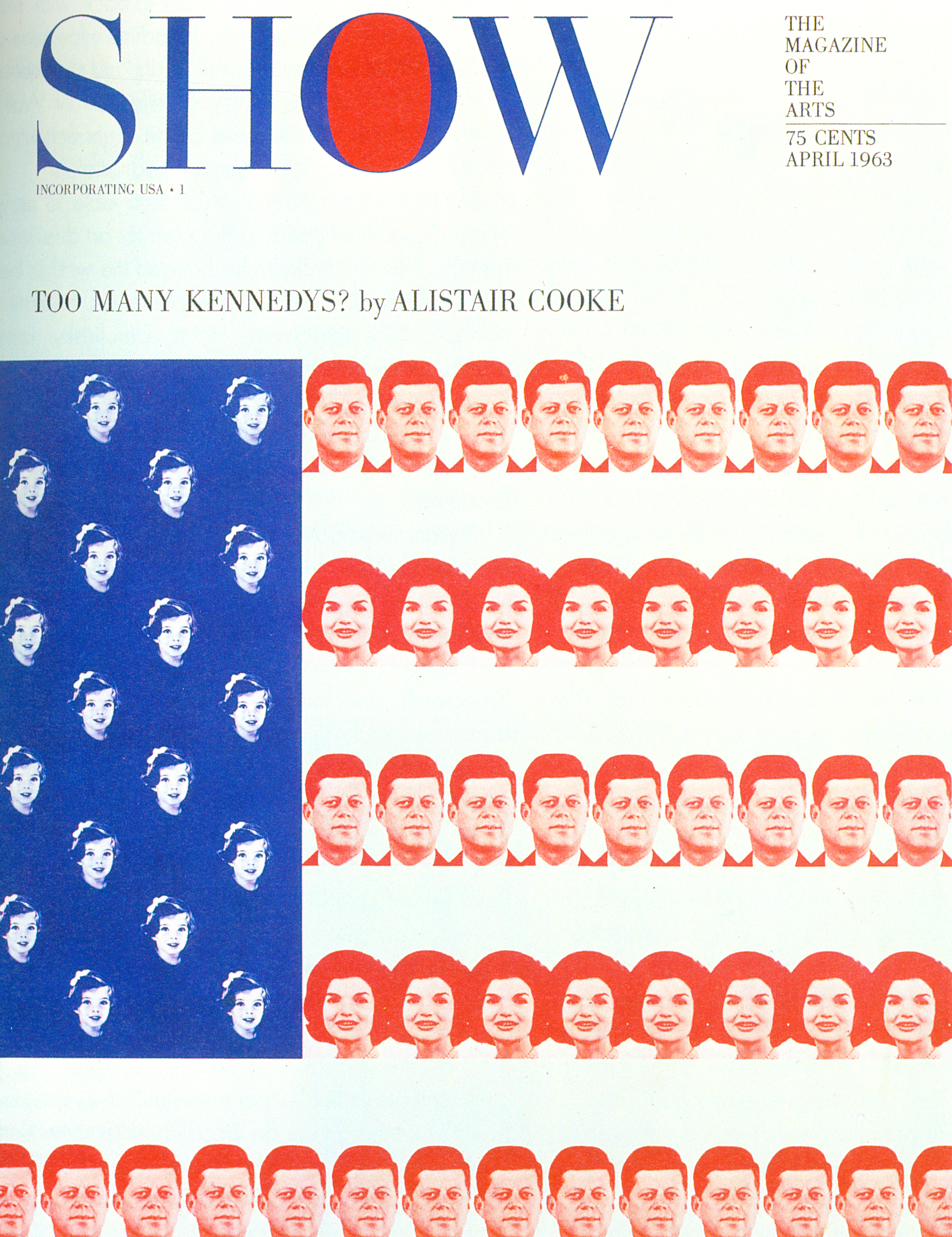Magazine cover with an American flag, the stripes made of the faces of John F. Kennedy and Jackie Kennedy and the stars from the face of Caroline Kennedy.