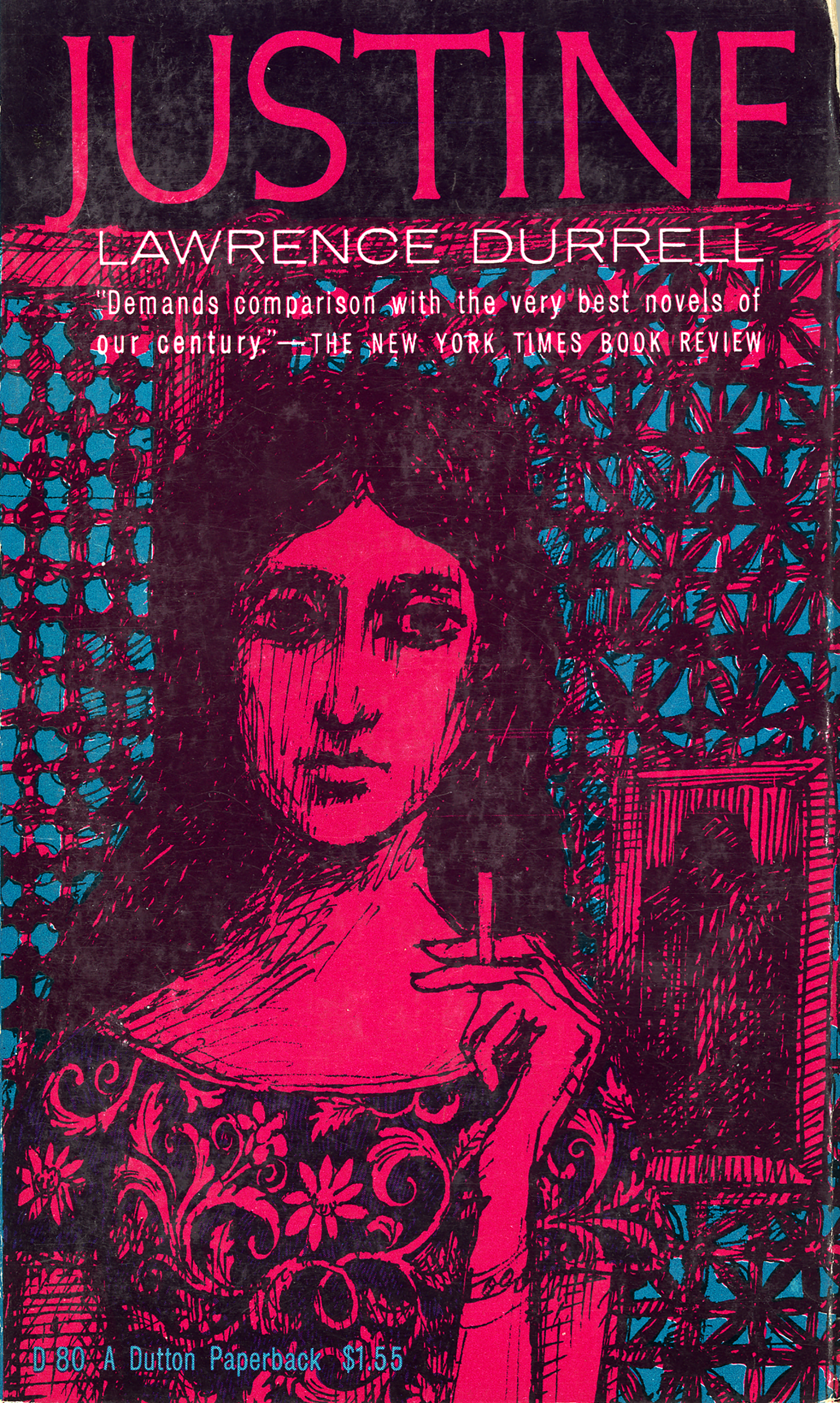 Book cover with a drawing of a woman smoking a cigarette against an ornate pattern.