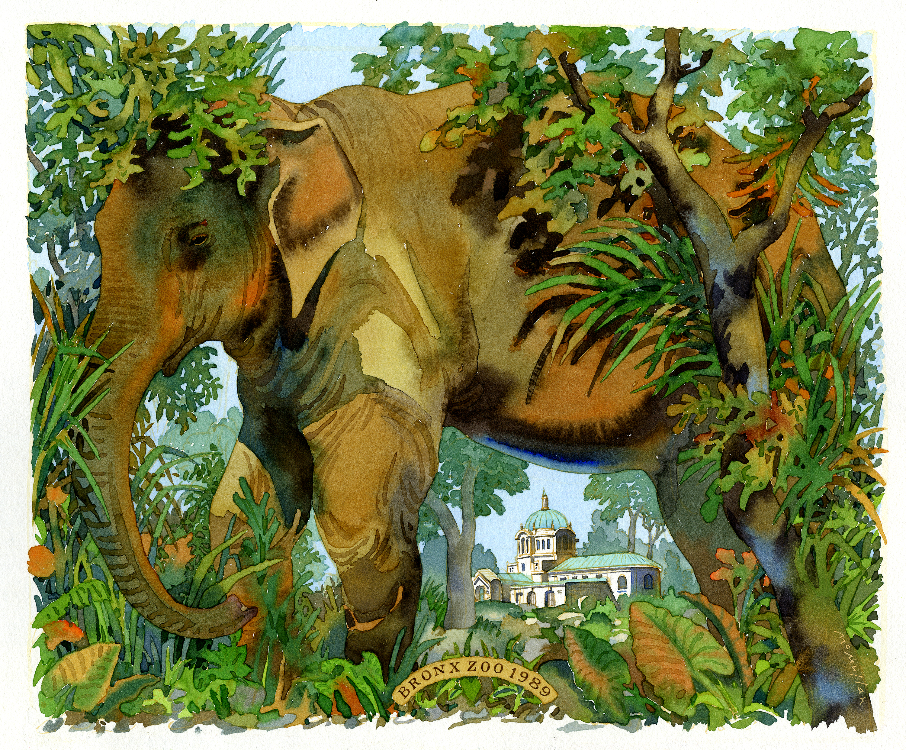 Color watercolor illustration of an elephant surrounded by foliage; an ornate building is visible in the background.