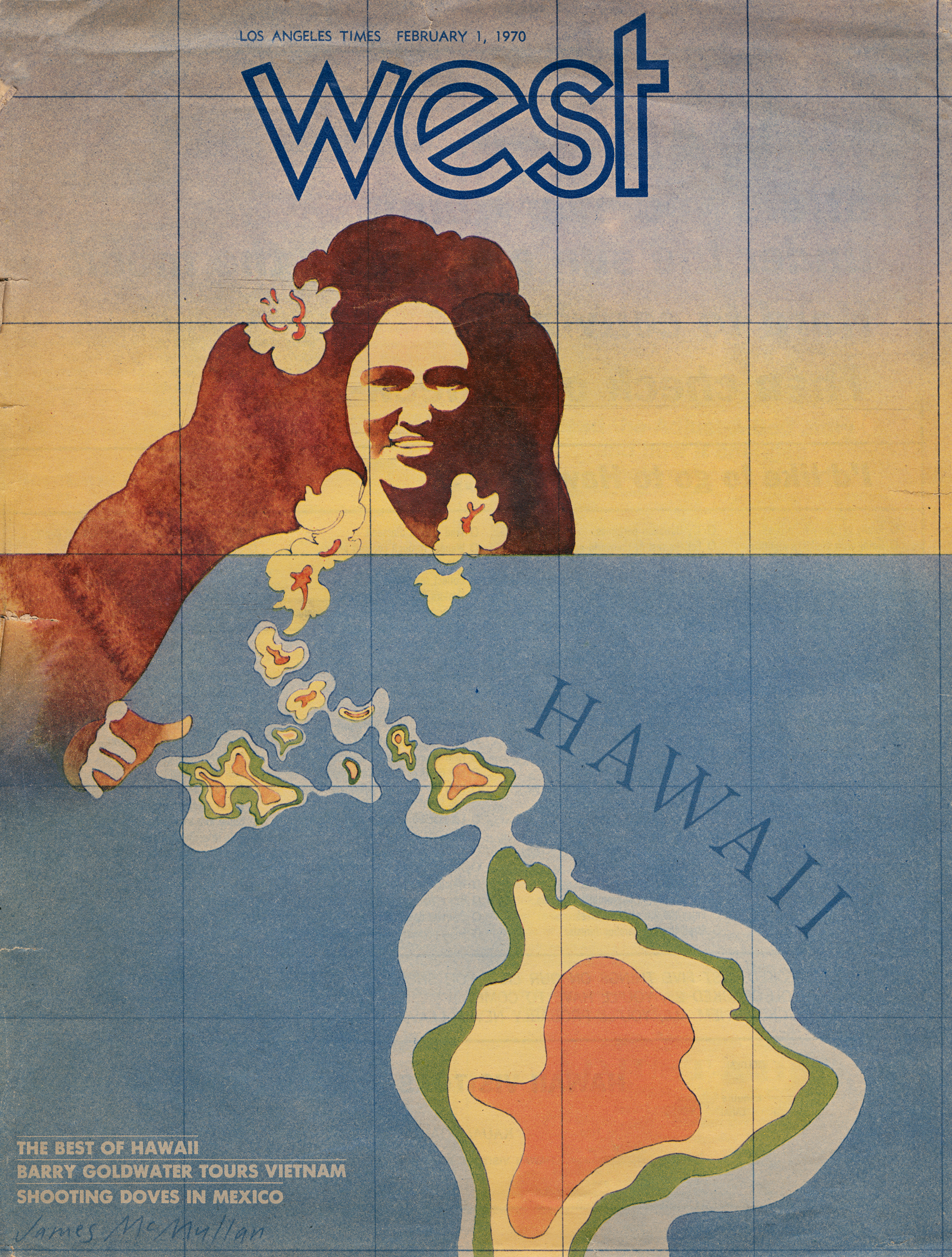 Magazine cover of a watercolor illustration of a Hawaiian woman wearing a flower lei which morphs into a large map of Hawaii.
