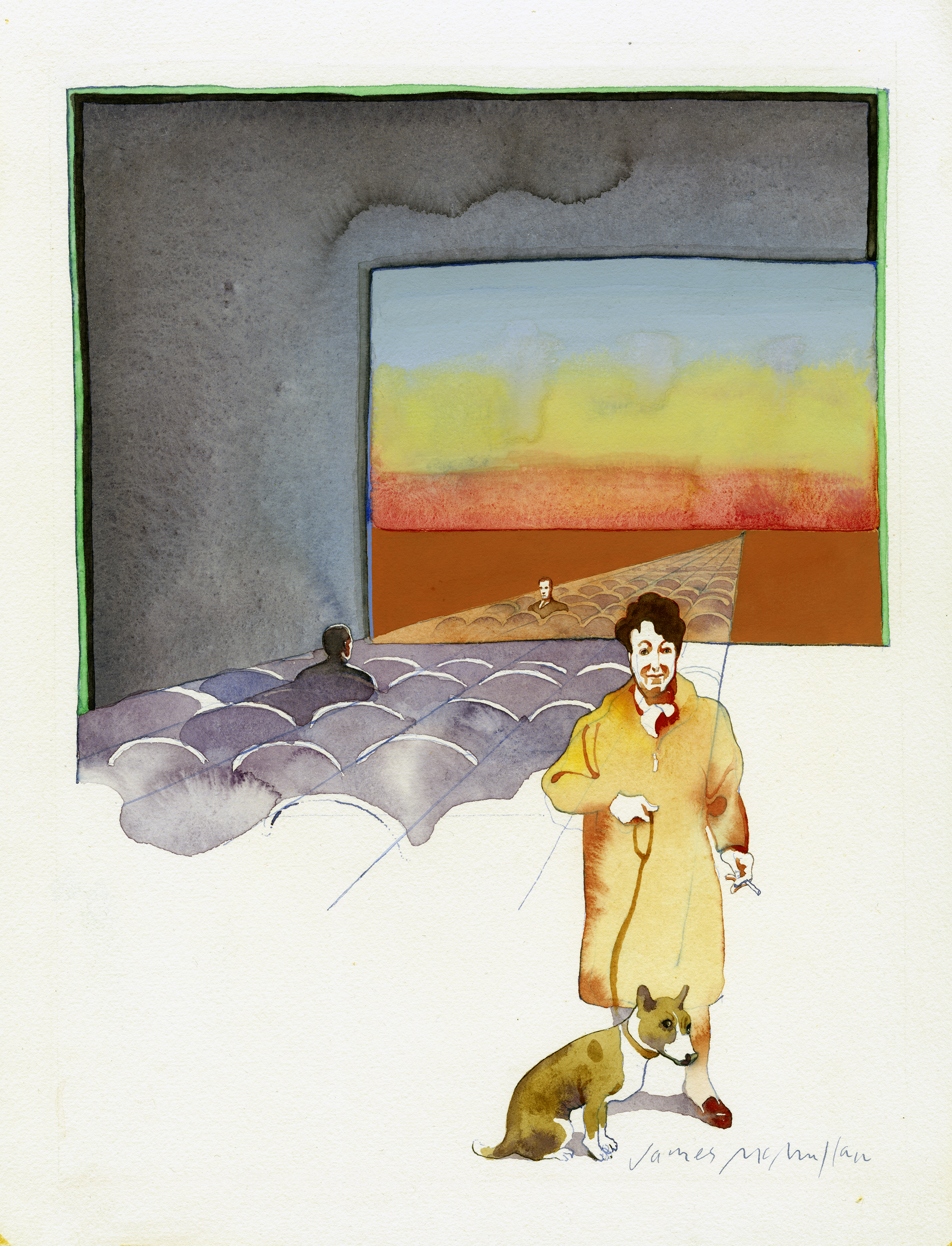 Watercolor painting of a lone man in a movie theater. A person in a yellow coat is in the foreground with their dog.