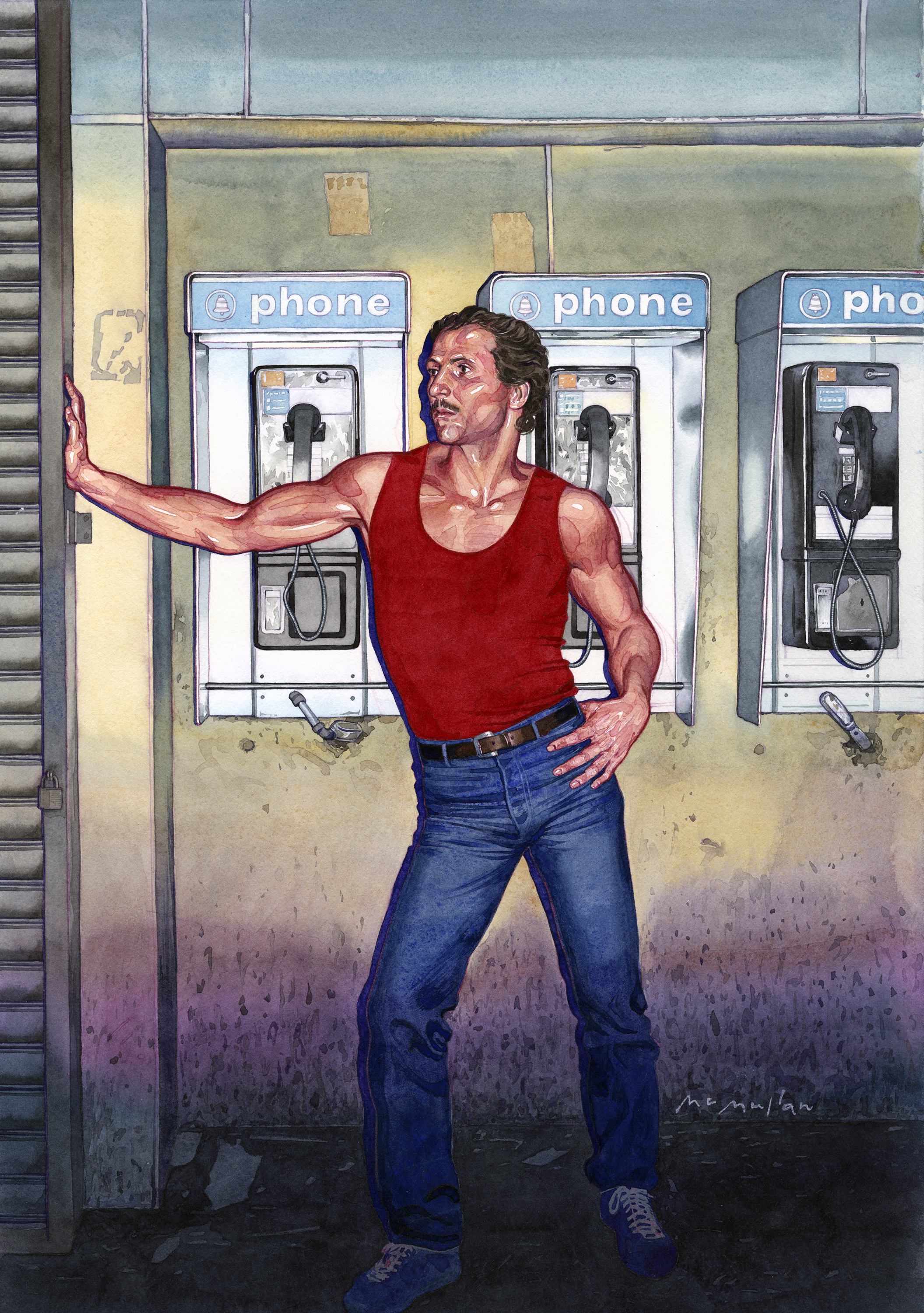 Watercolor illustration of a muscular man in a red tank top and jeans with his hand leaning on a closed shutter, against a backdrop of public phones.