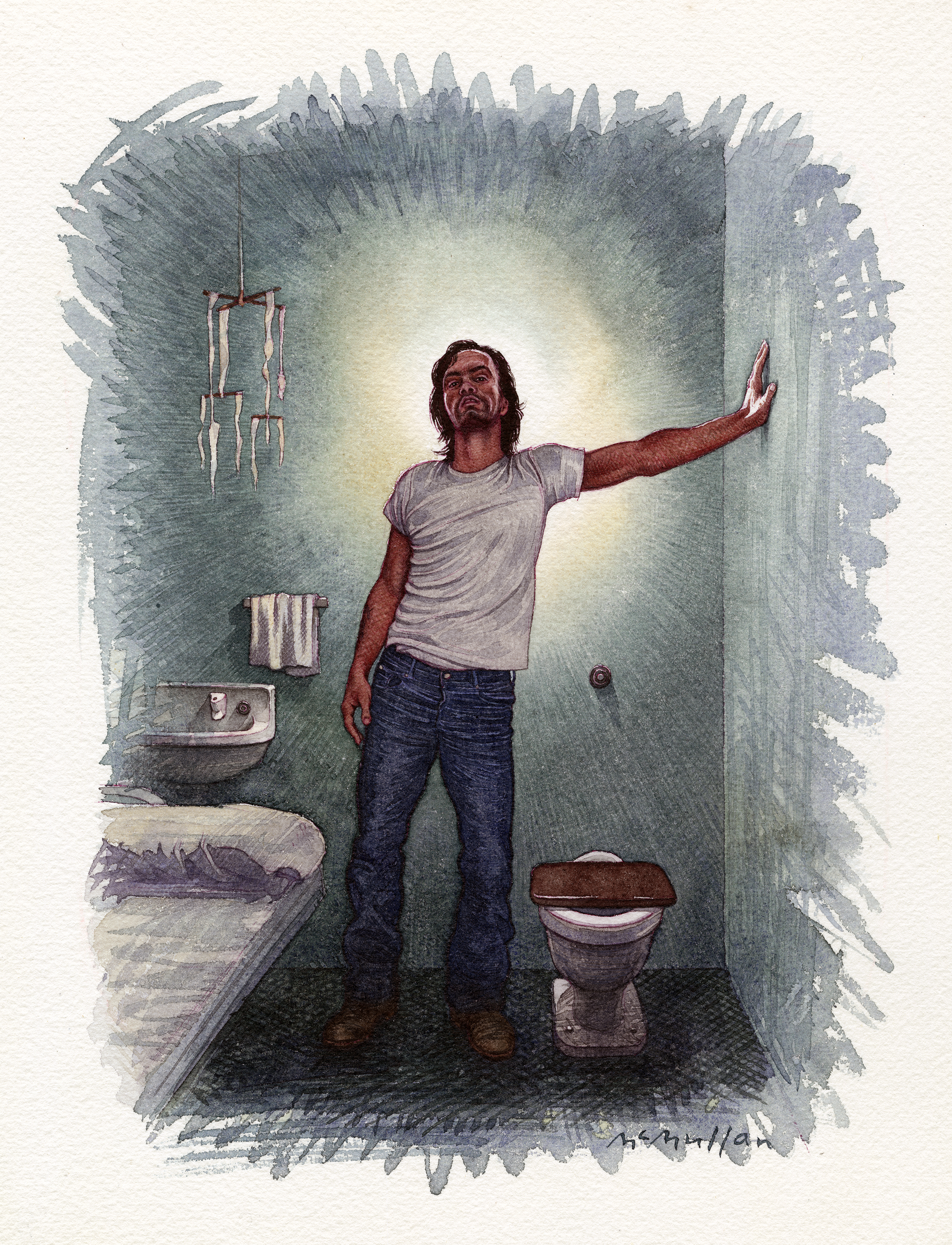 Watercolor illustration of Charles Manson in a prison cell, wearing a white t-shirt and jeans, with his hand against the wall.