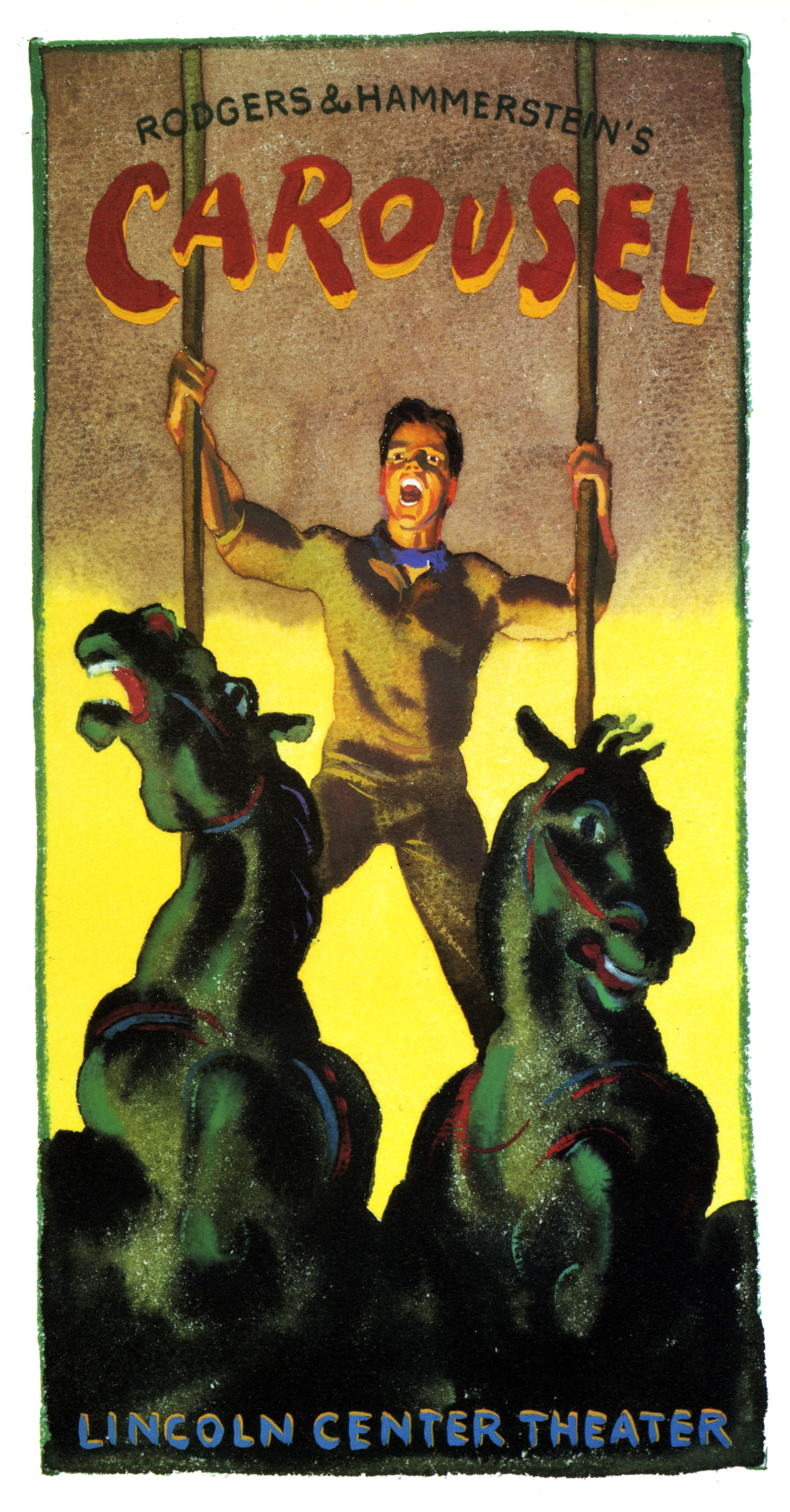 Illustration of a man singing, standing atop two green carousel horses, grasping their poles.