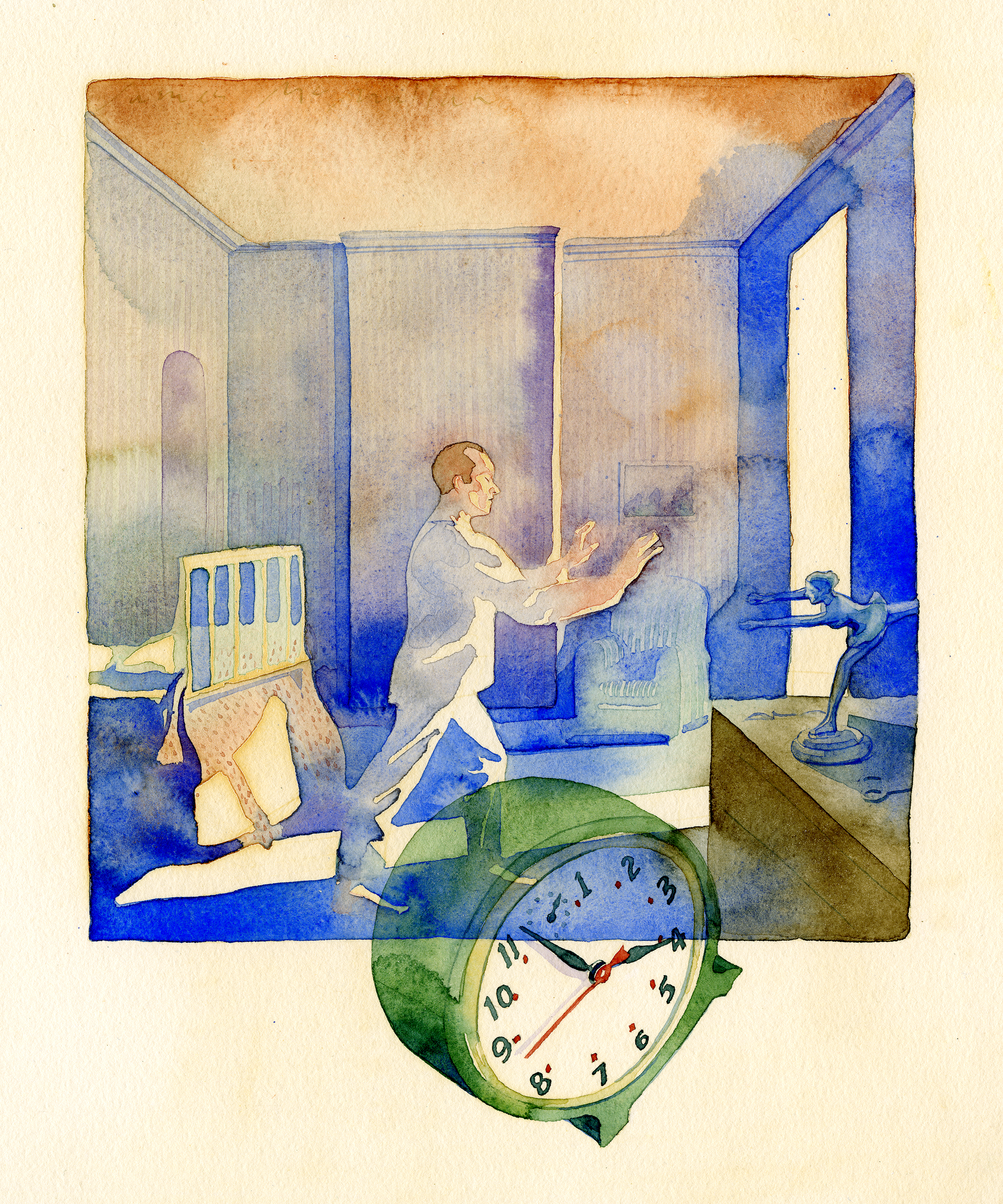 Watercolor painting of a man sleepwalking towards an open door in his bedroom, with a large green alarm clock superimposed.