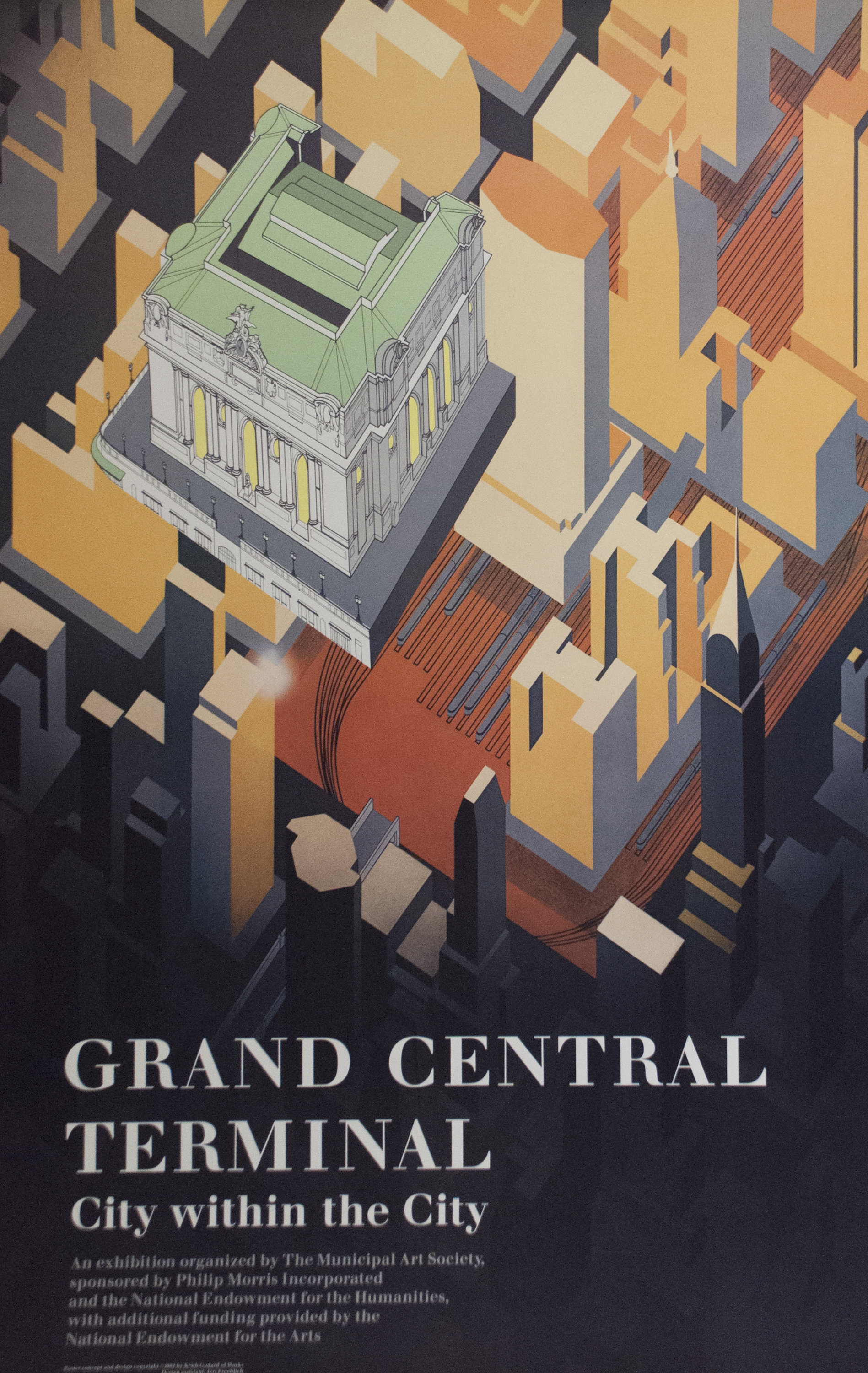 Color illustration of an aerial view of the Grand Central Terminal in an abstract cityscape.