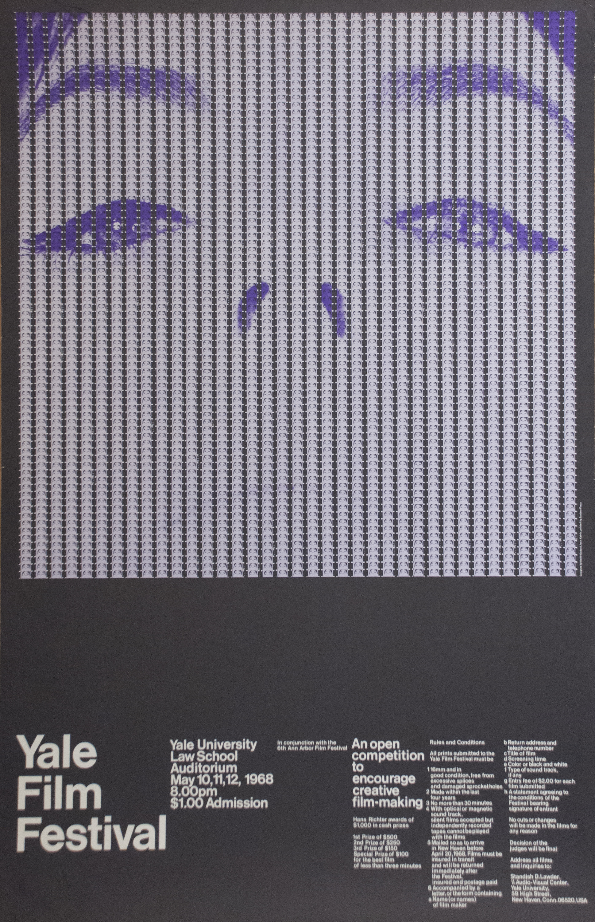 Depiction in purple and white of the eyes and nose of a woman's face made from the same image in miniature in the frames of several parallel strips of film laid vertically side by side.