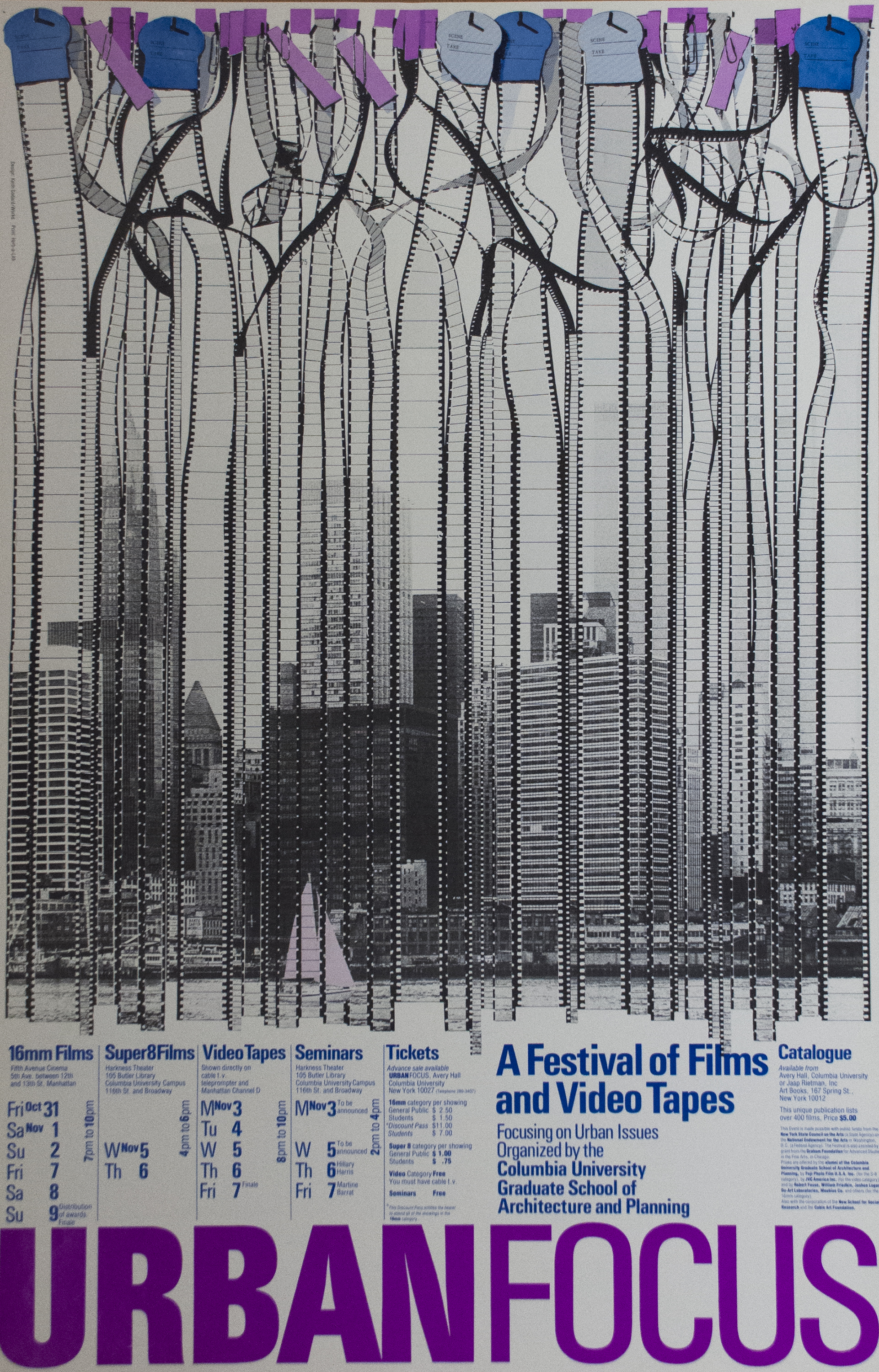 Several strips of 8mm, 16mm, and 32mm film hanging side by side, their combined images forming a cityscape in black and white, with festival information in blue and purple text below.