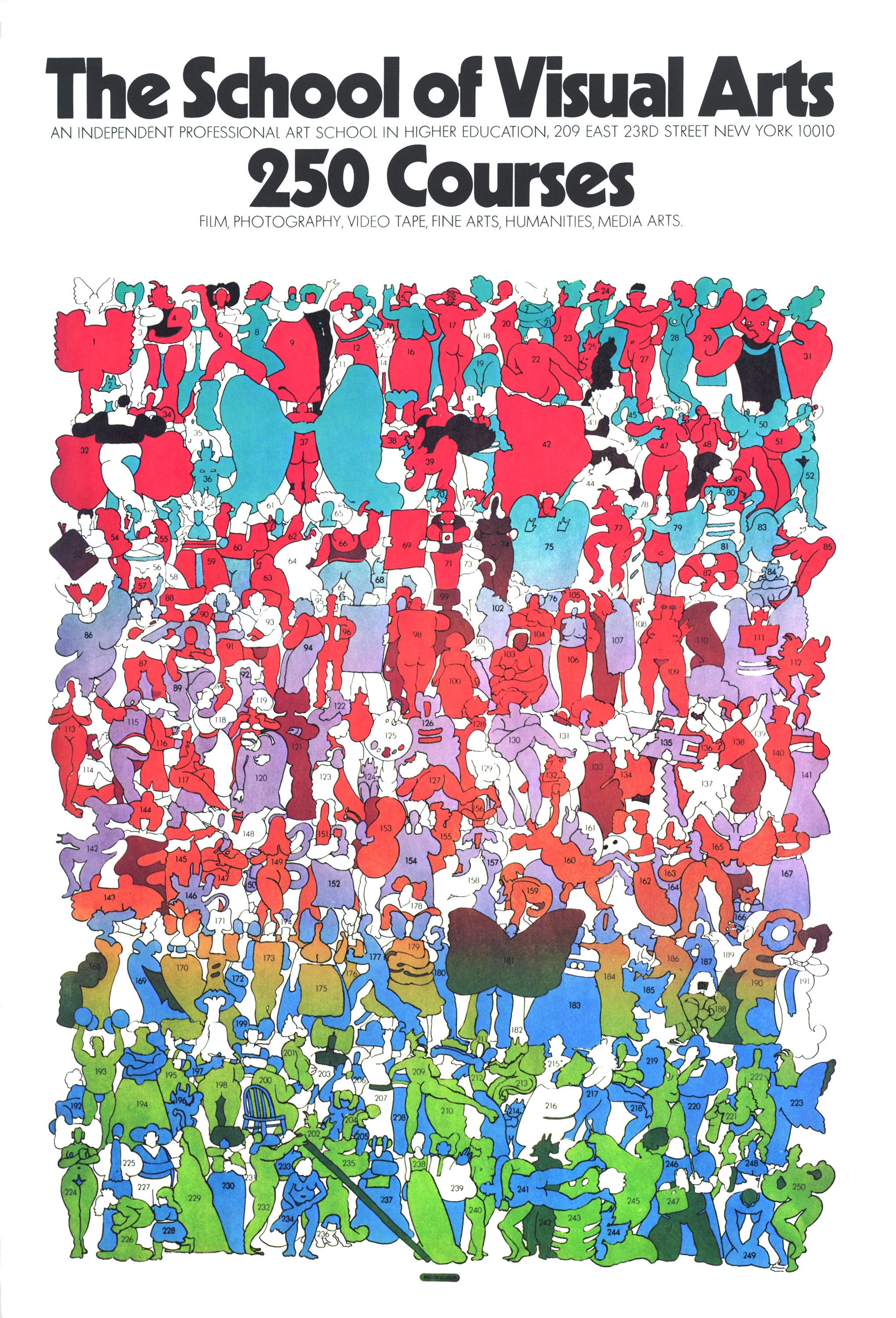 Colorful illustration of a menagerie of 250 nude, semi-nude and costumed figures, each with a number on them.