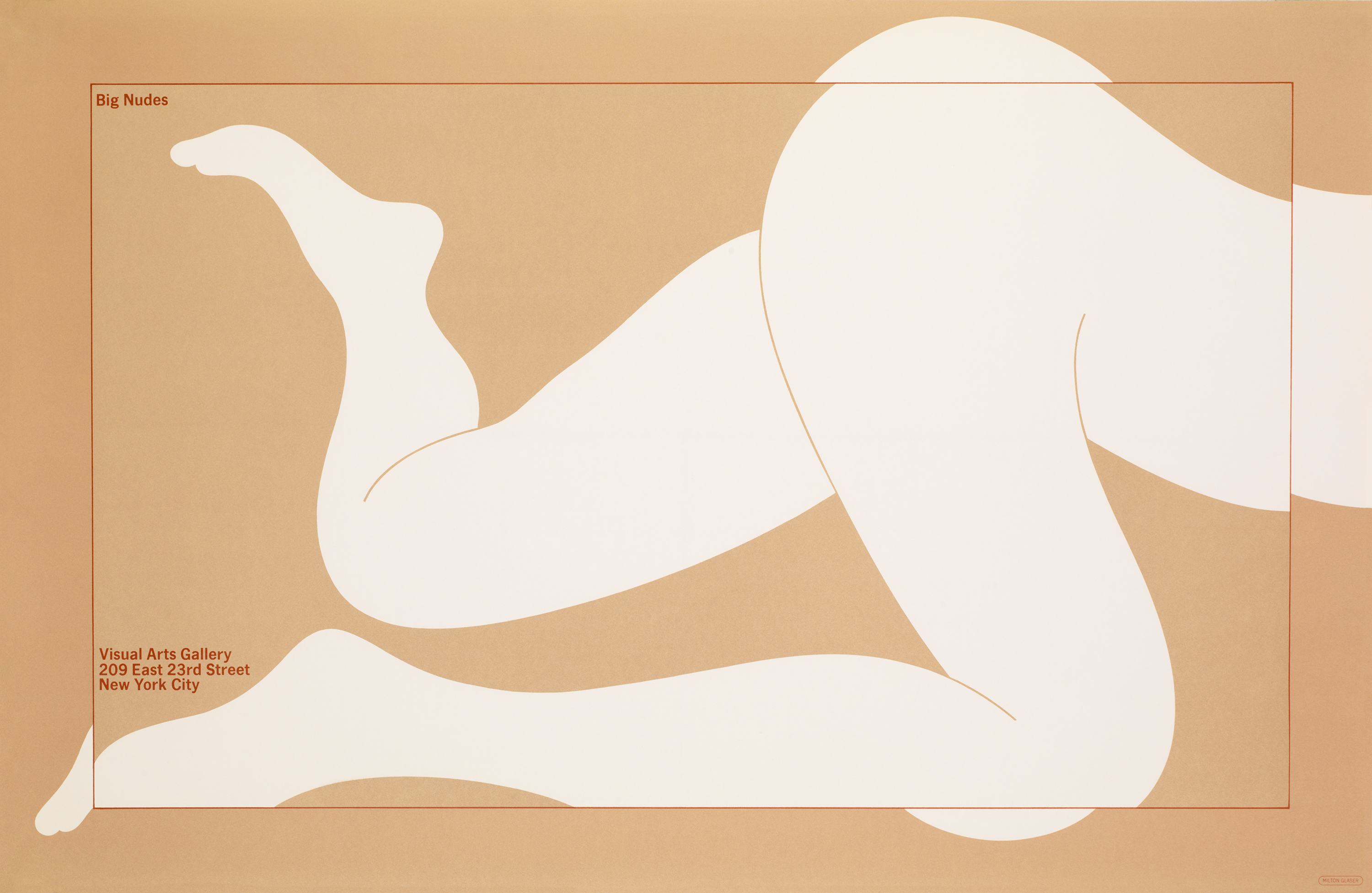 The lower body of a nude figure in white silhouetted profile, contained in a thin red box.
