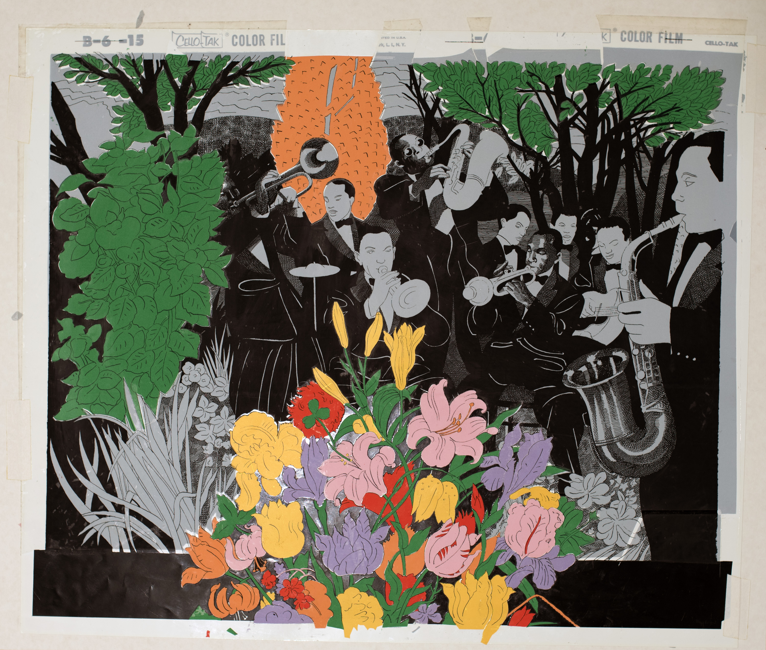 Black and white drawing of a jazz band playing, surrounded by colorful foliage.