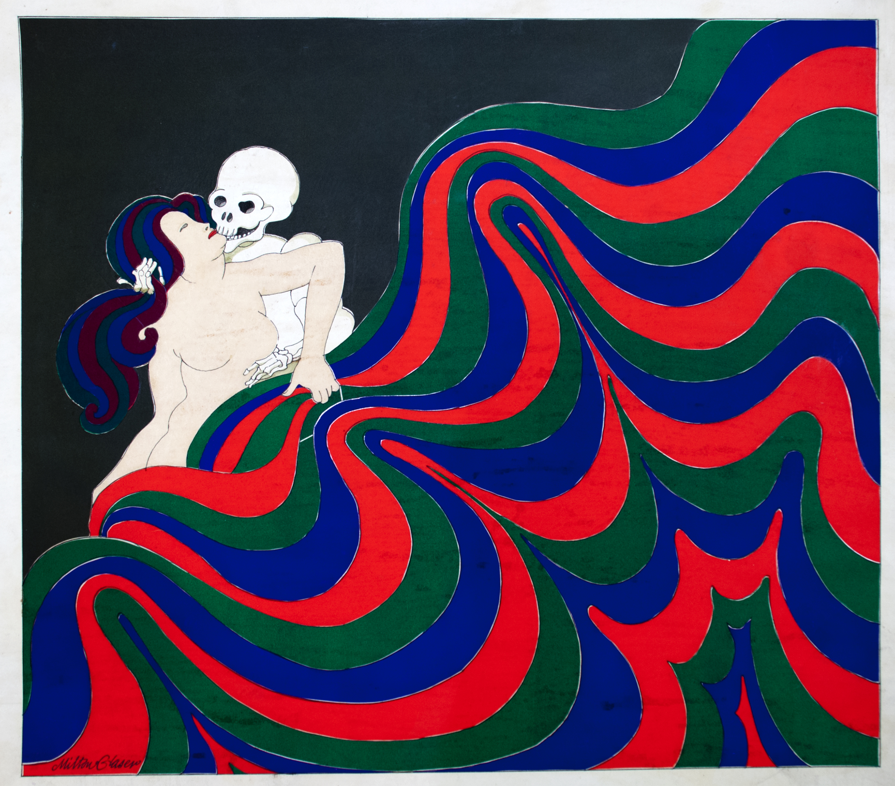 A skeleton embracing a nude woman, holding a vibrant blue, red, and green tapestry.