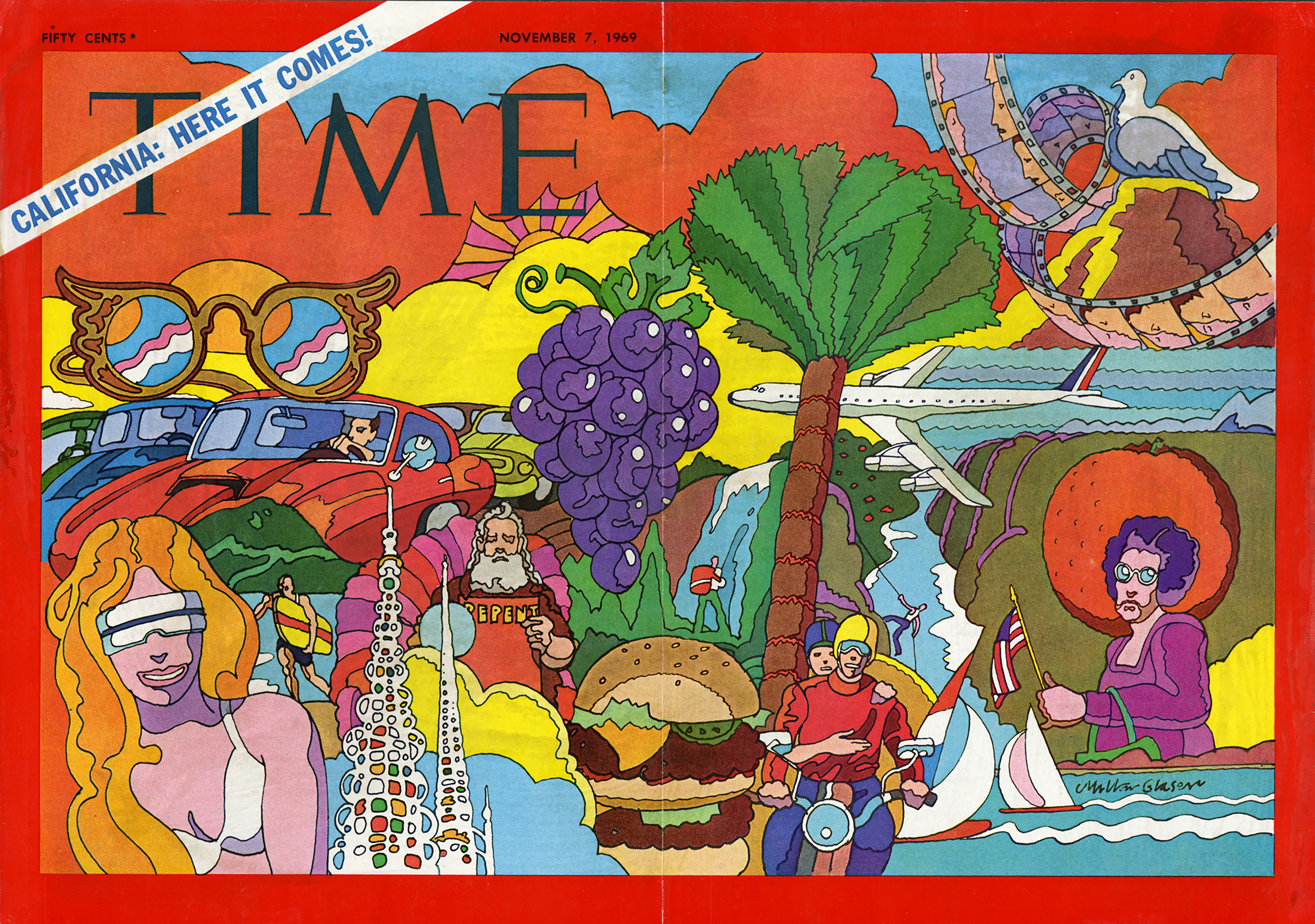 Colorful illustration of various California icons, including grapes, palm trees, cars, beach scenes, film strips and hamburgers.