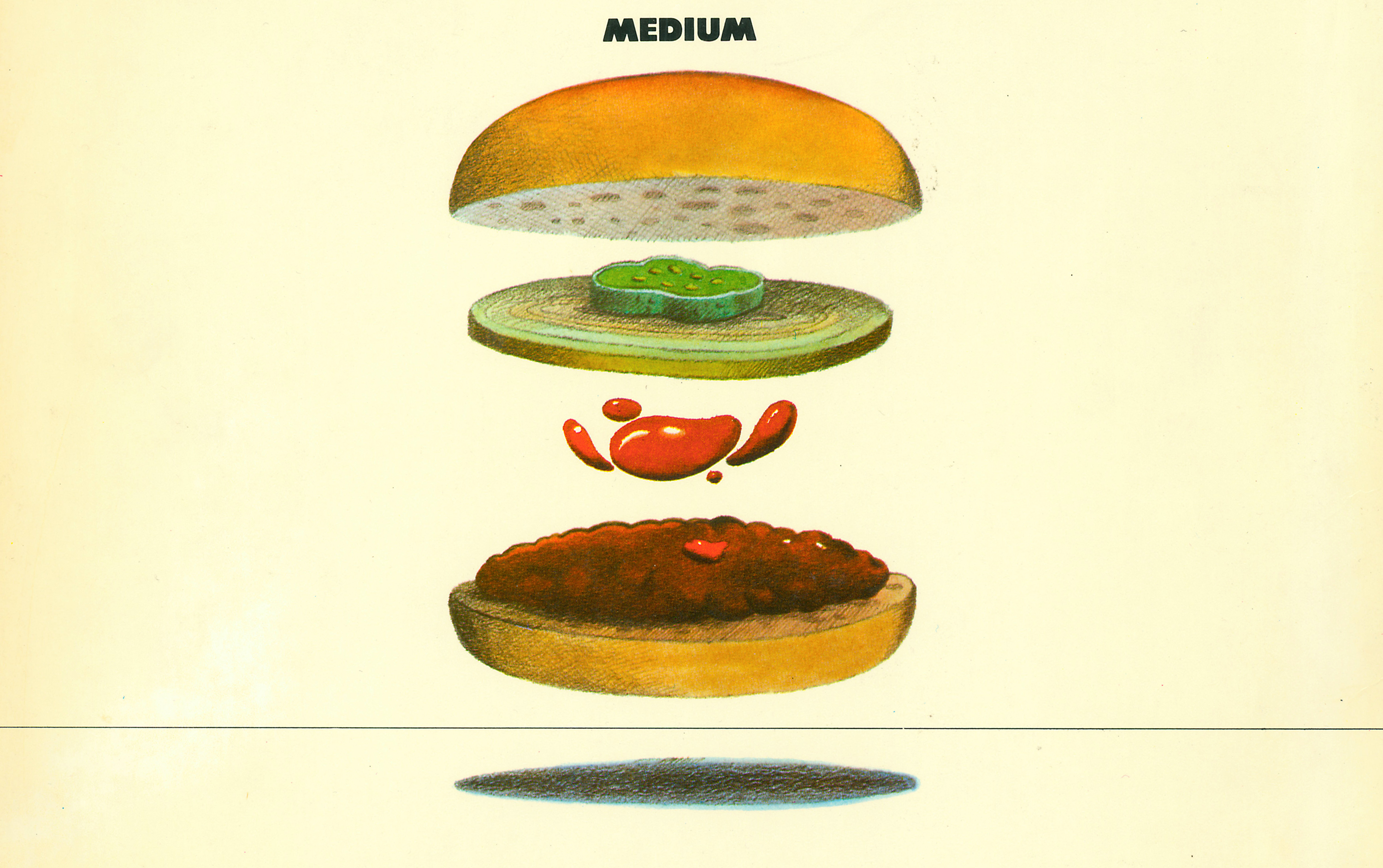 Color illustration of the components of a hamburger isolated and floating independently of each other against a yellow background.