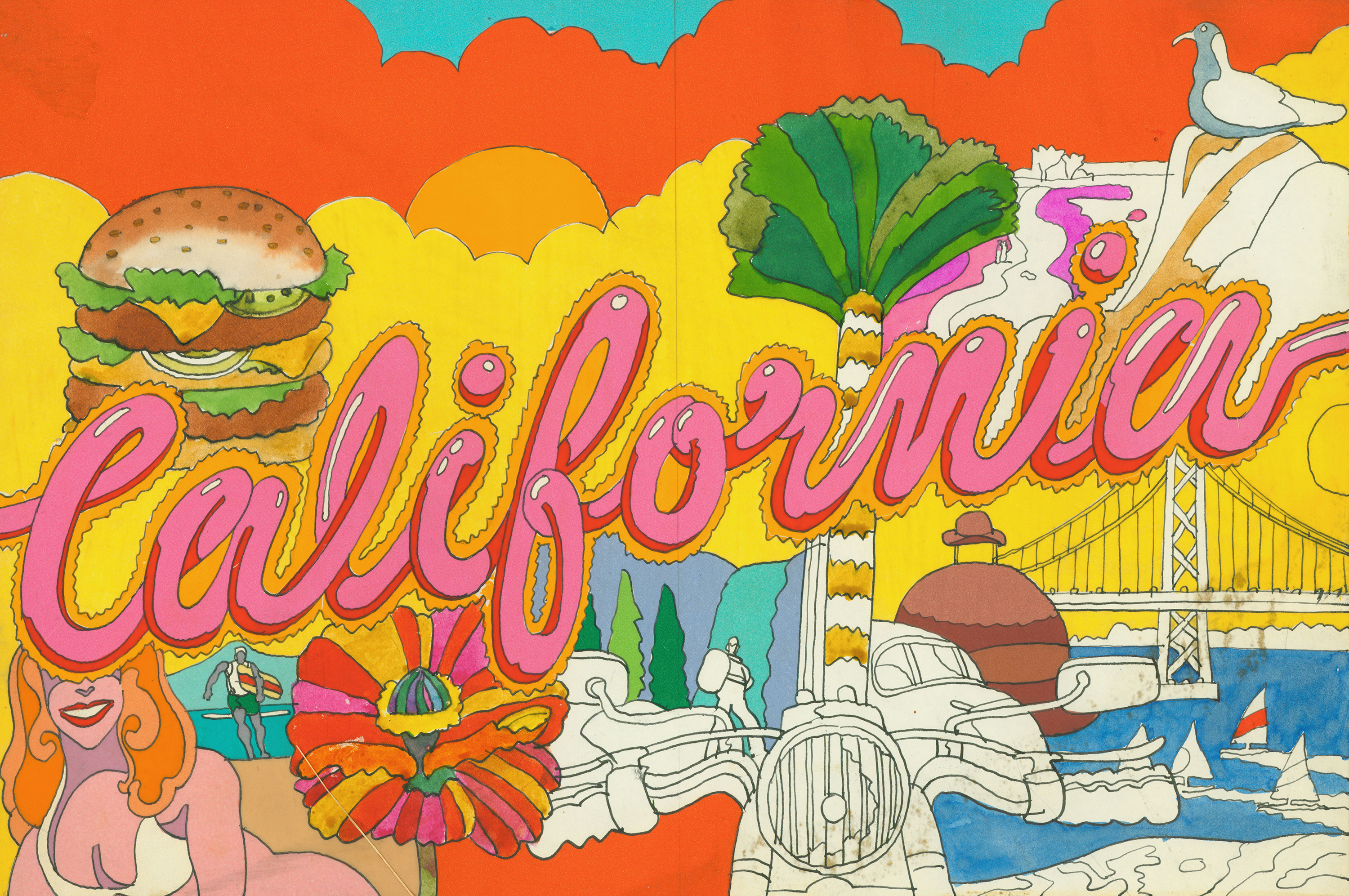 "The word ""California"" in hot pink bubble cursive, superimposed over beach scenes, a hamburger, a motorcycle, and a bridge."