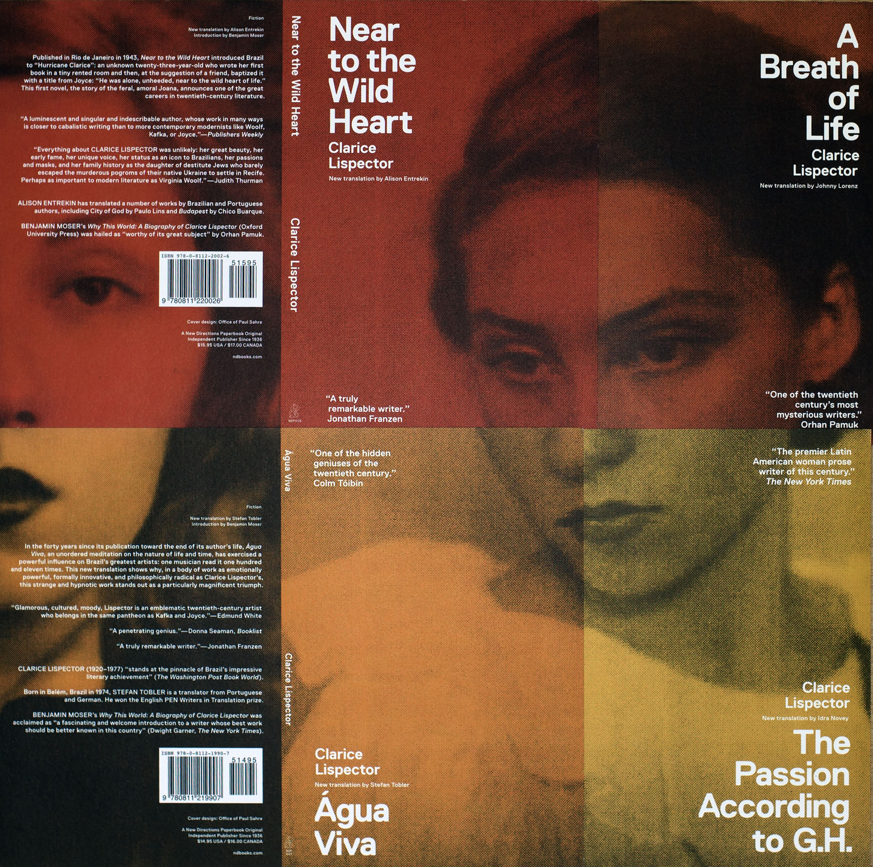 Image of book covers of four different Clarice Lispector novels, each with a different quadrant of Lispector's face.