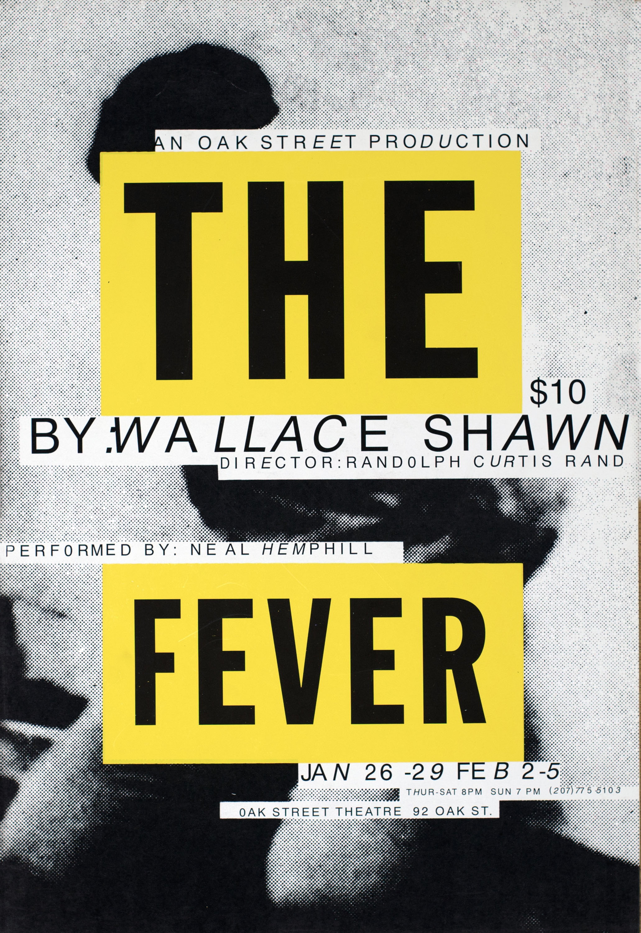 "Black and white photograph of a crouching person; their face and body is obscured by two yellow strips, one with the text ""THE"" and the other ""FEVER."""