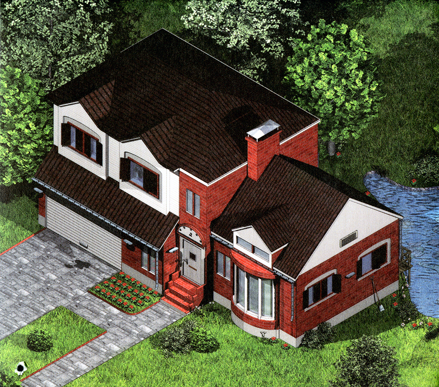 Digital color illustration of an aerial view of a two-story suburban house.