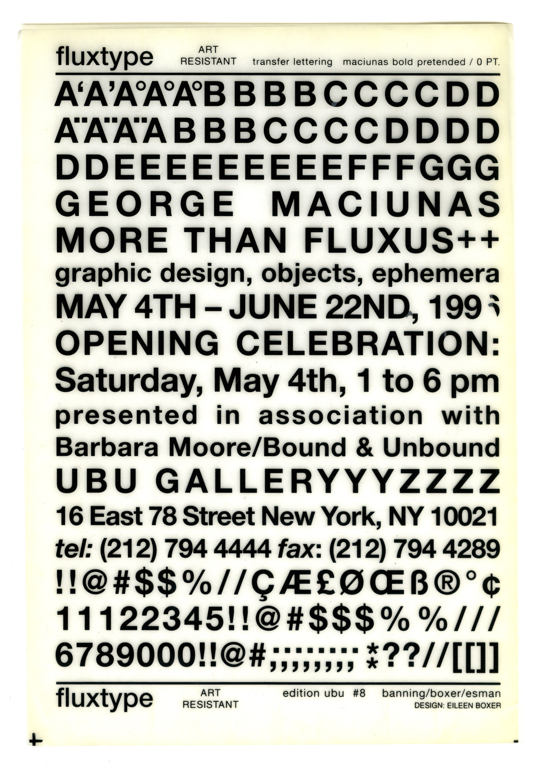Announcement of George Maciunas exhibition in the form of a page of transfer lettering.