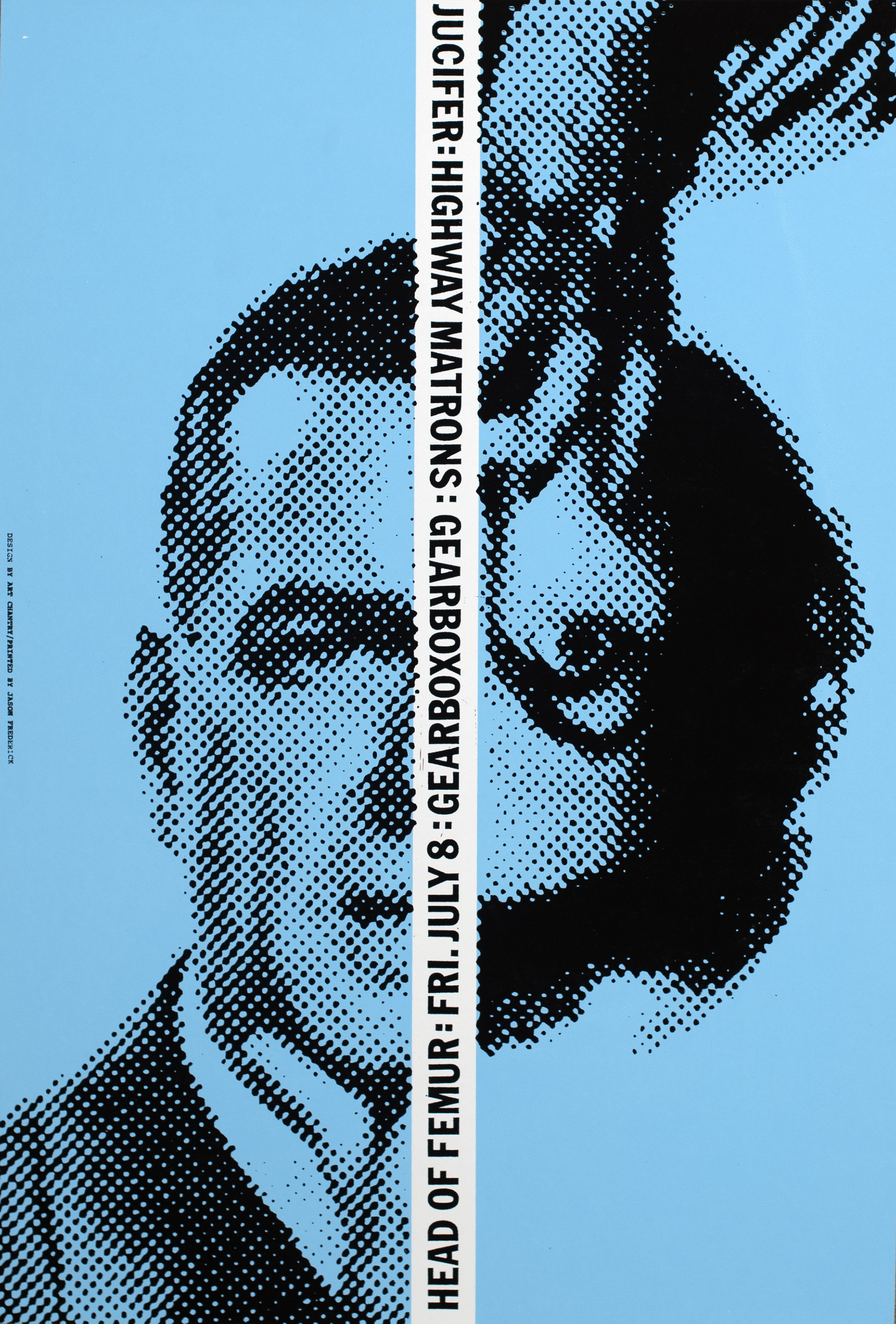 Two halftone images of half a man's face and half a woman's face, upside down, against a blue background. In the center, a vertical line of band names, venue, performance date.