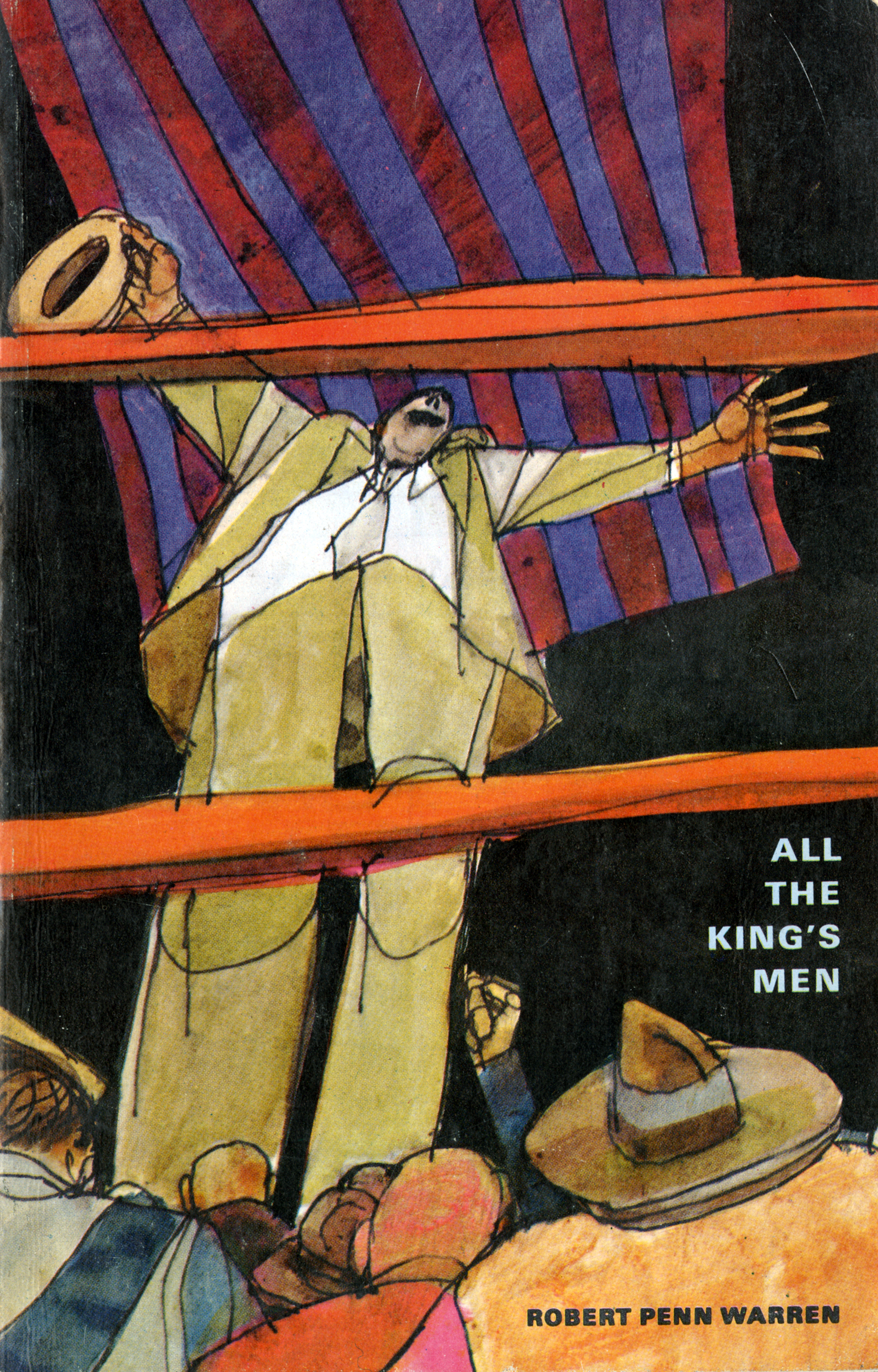 Color illustration of a man in a suit in a boxing ring, looking down at the audience with his arms up.