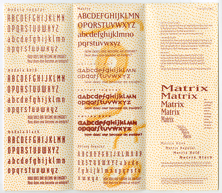 Tri-fold pamphlet showing various Emigre fonts in red.