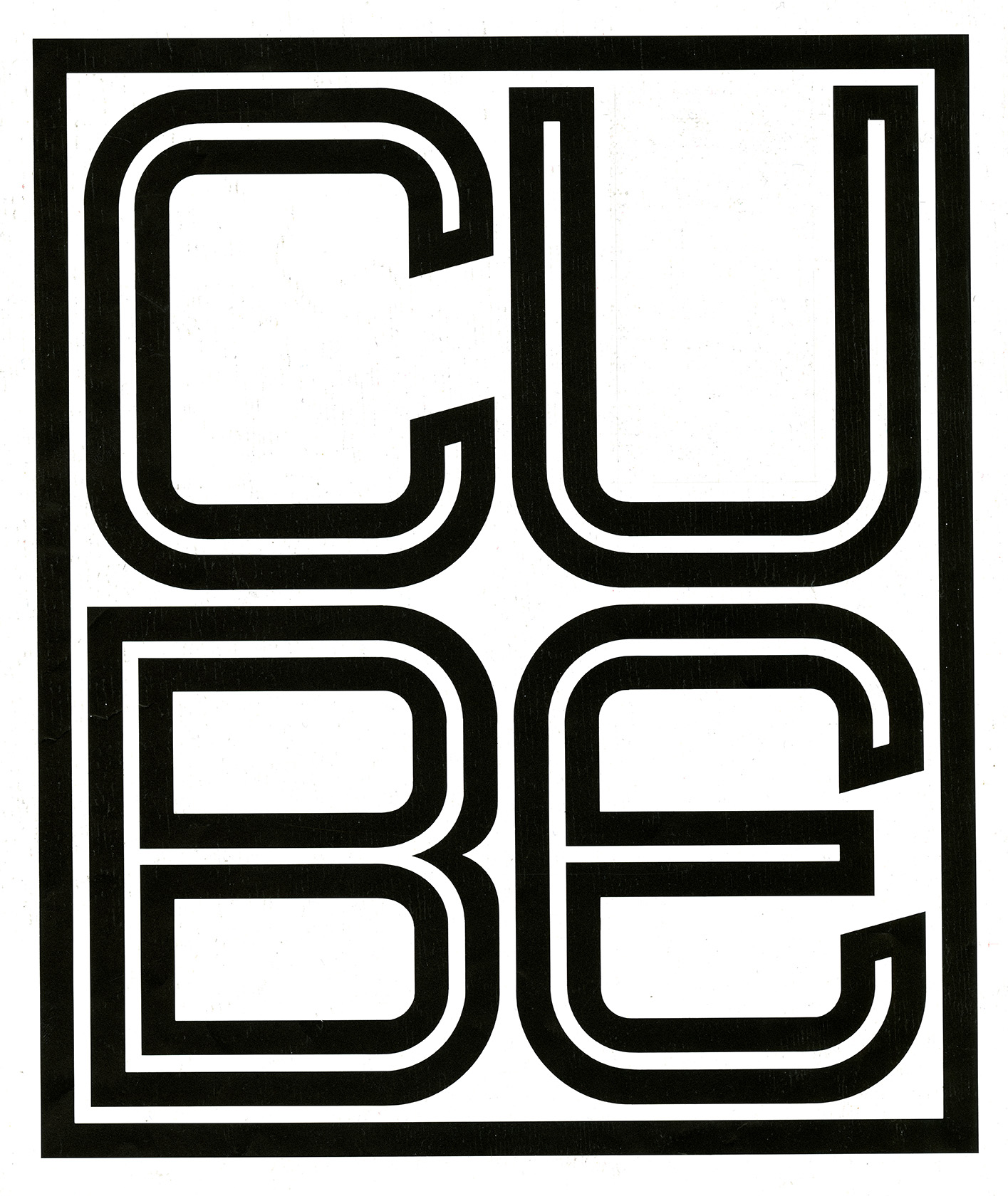 "The letters ""CUBE"" appear in a square design inside a box. Black against white background."