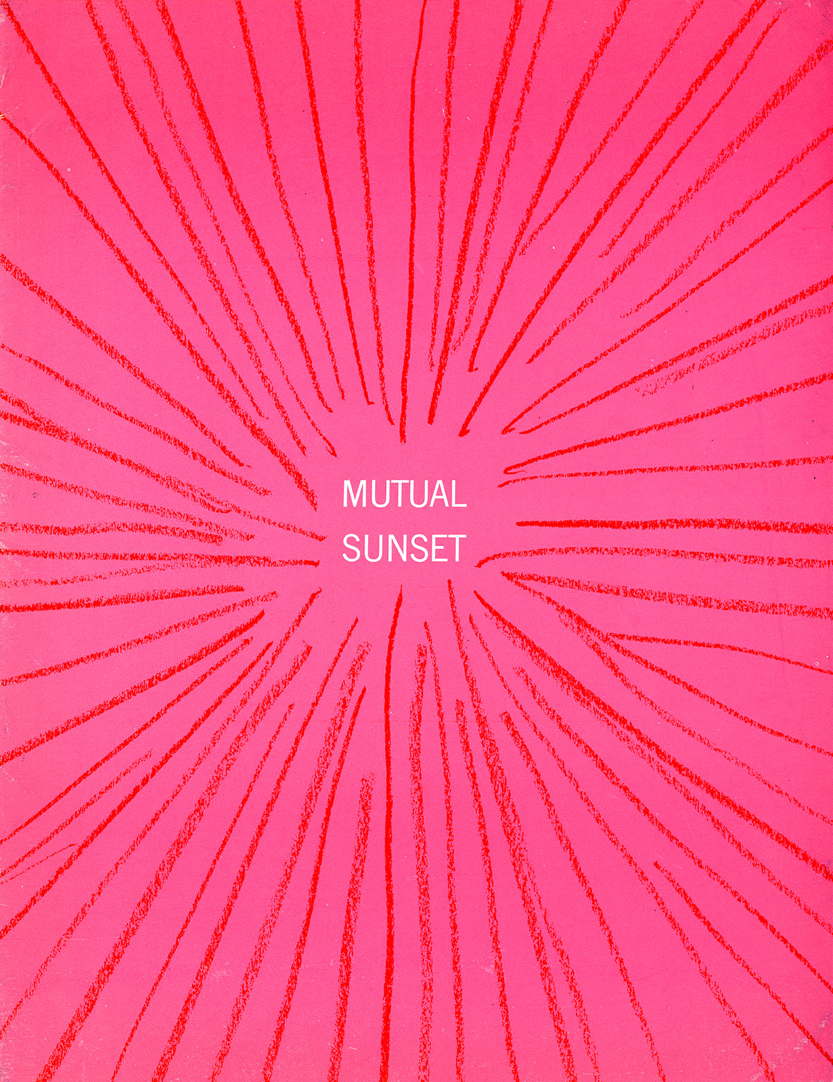 "The text, ""mutual sunset,"" in white text centered against a hot pink background; red pencil lines emanate from the center."