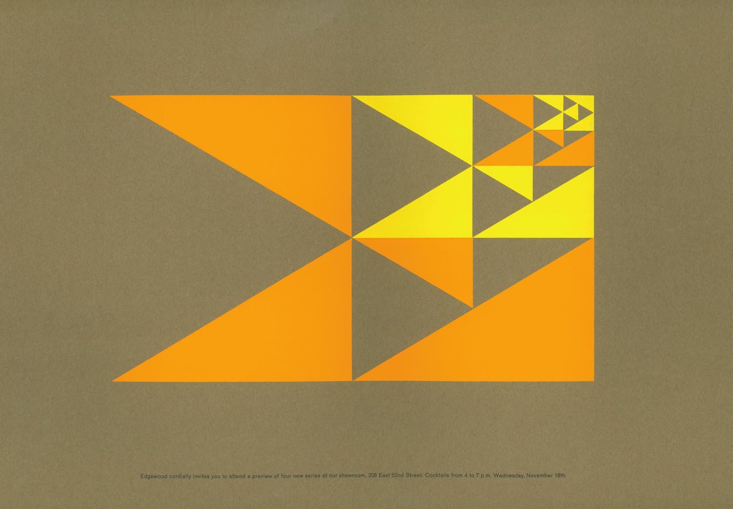Orange and yellow graphic made up of triangles against brown background.