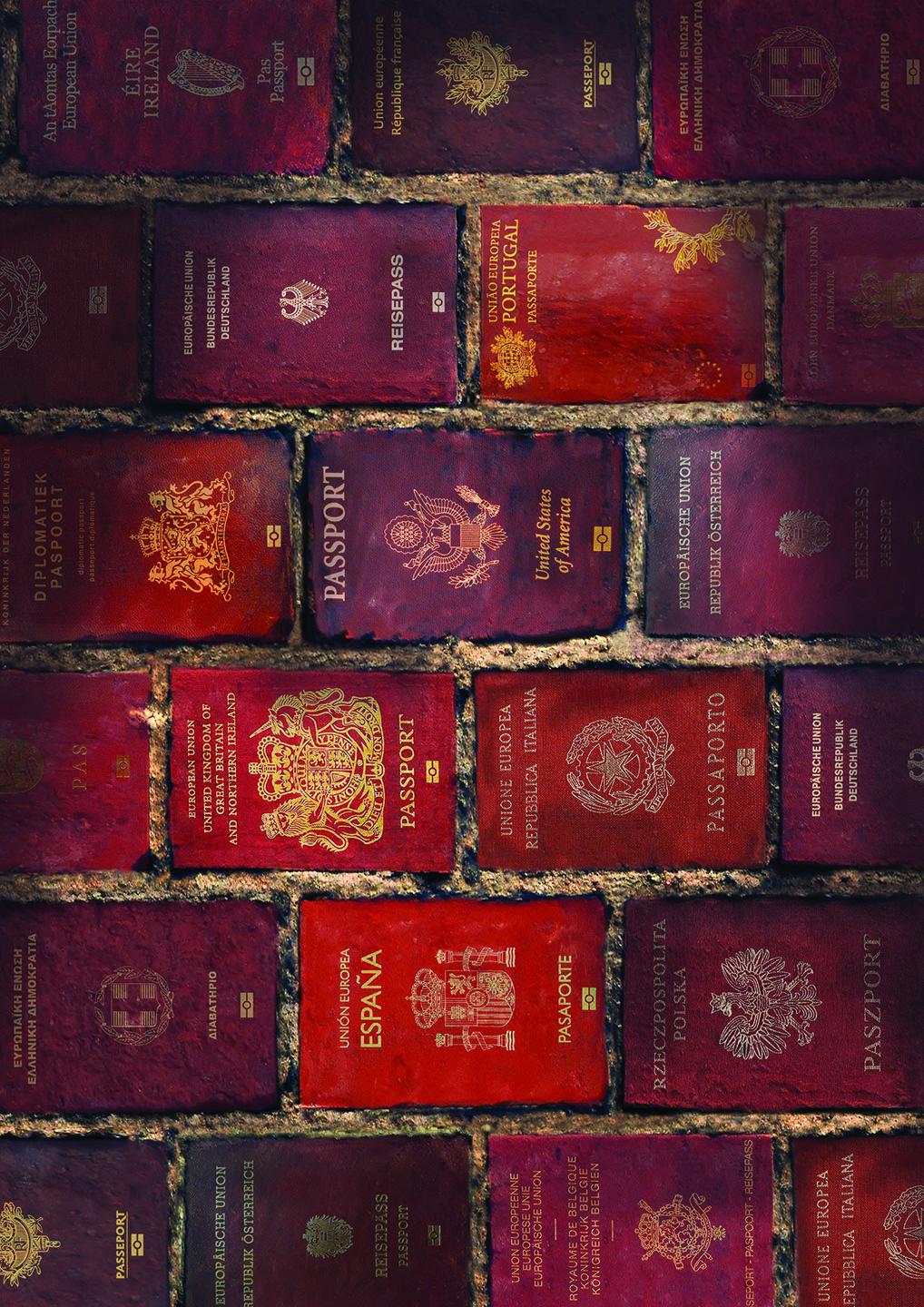 Red passports from various countries are arranged and separated by mortar, resembling a brick wall.