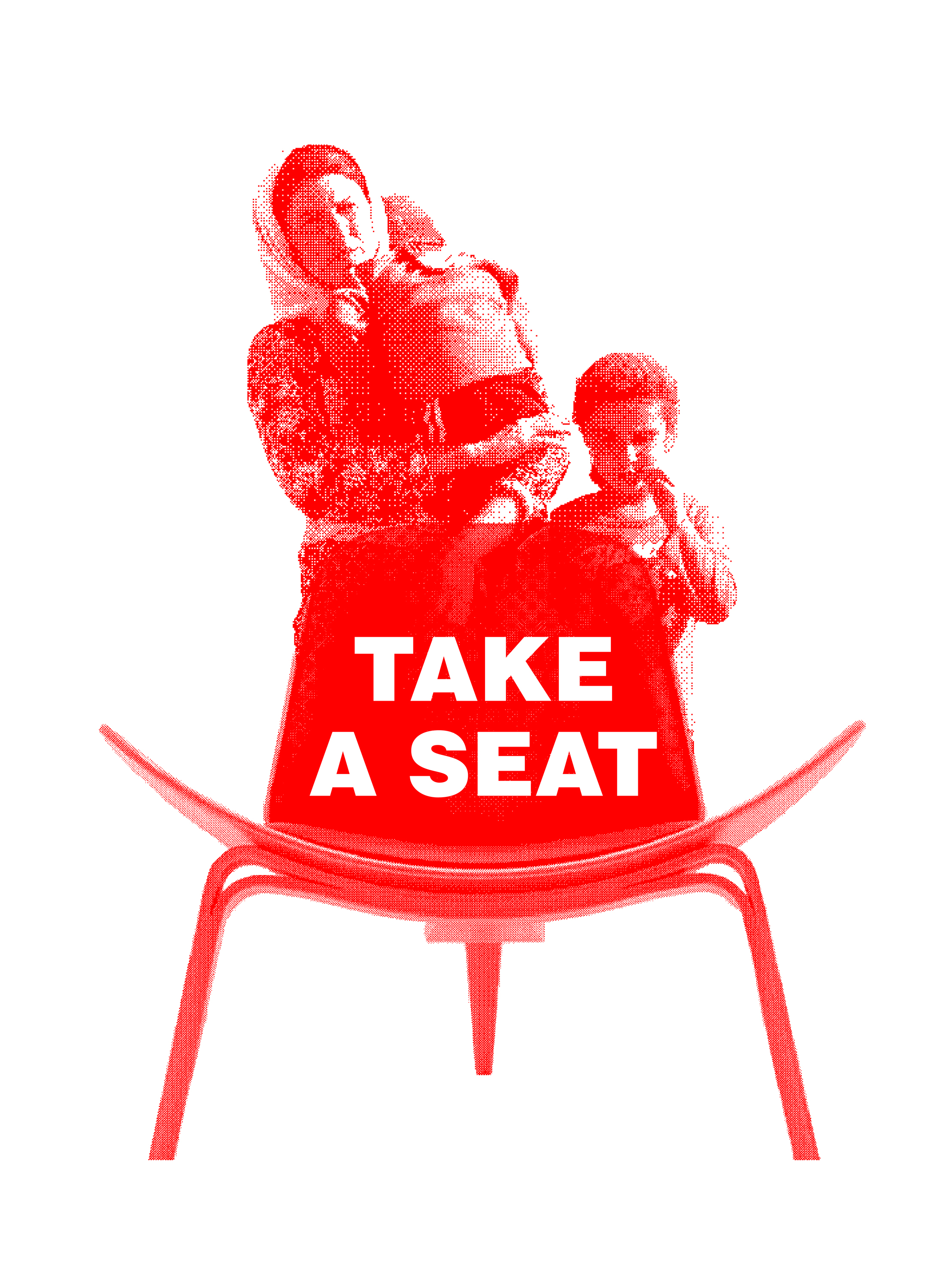 "A pixelated red-and-white photograph of a women wearing a head scarf, holding a child, with another child standing beside her, all behind a modernist-like molded wood chair. The front of the chair is facing towards the viewer, with the text ""Take a Seat"" overlaid in white."