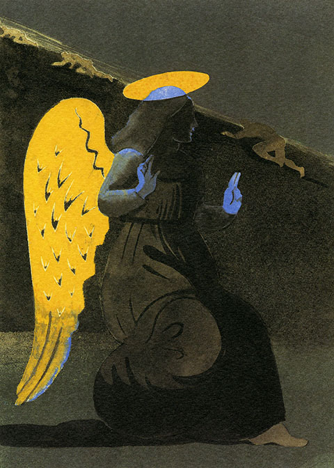 Painting of a black-and-blue angel with yellow wings and halo; three figures crawling up a hill in the background.